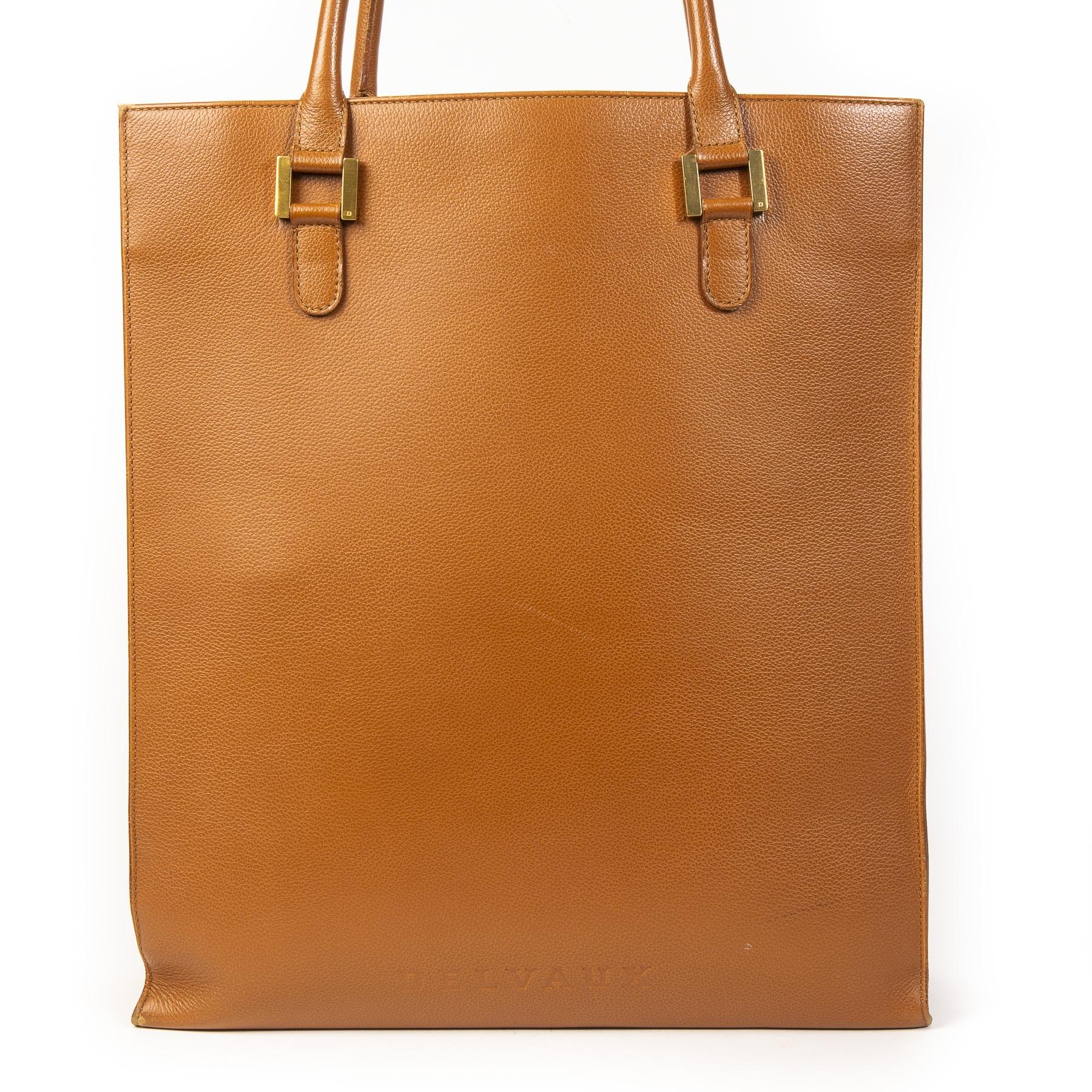 Authentieke Tweedehands Delvaux Cognac Leather Tote Bag juiste prijs veilig online shoppen luxe merken webshop winkelen Antwerpen België mode fashion