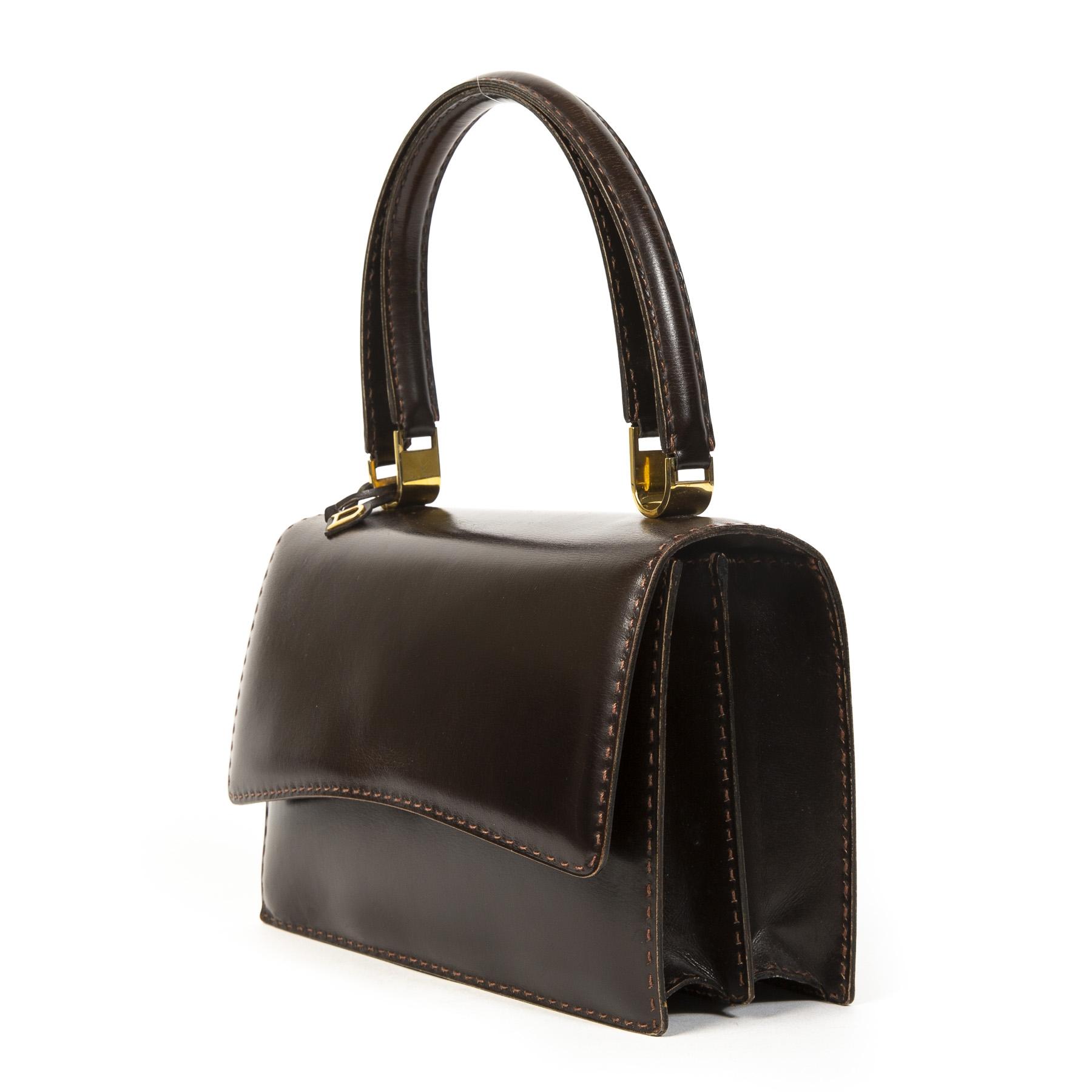 Authentieke tweedehands Delvaux Brown Model Depose juiste prijs veilig online winkelen LabelLOV webshop luxe merken winkelen Antwerpen België mode fashion