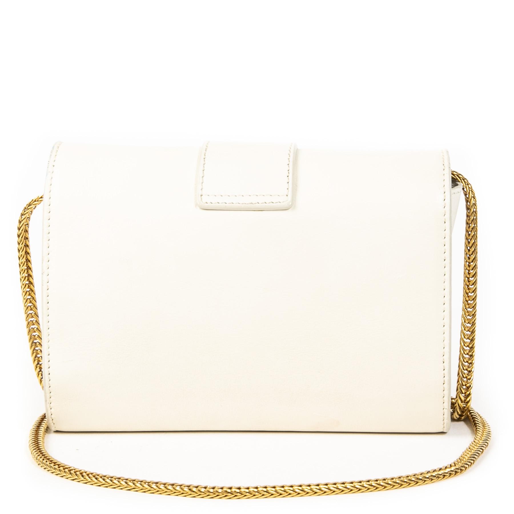 Authentieke Tweedehands Yves Saint Laurent White Leather Shoulder Bag juiste prijs veilig online shoppen luxe merken webshop winkelen Antwerpen België mode fashion