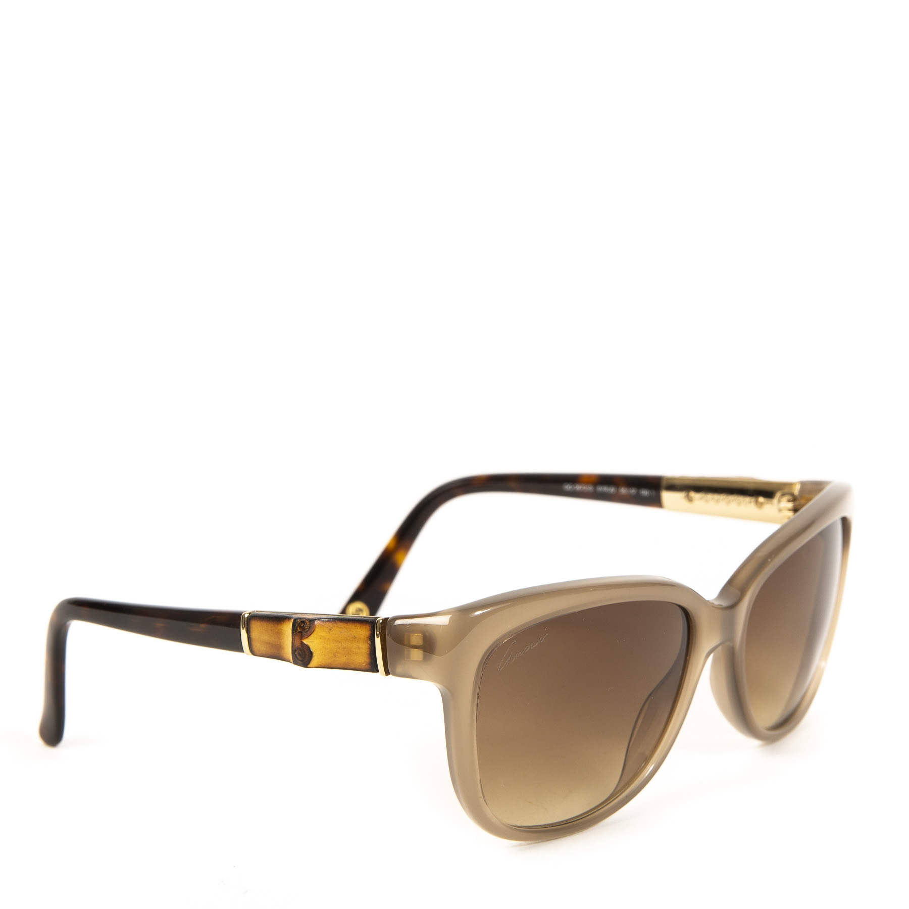 Authentieke Tweedehands Gucci Grey Bamboo Sunglasses juiste prijs veilig online shoppen luxe merken webshop winkelen Antwerpen België mode fashion