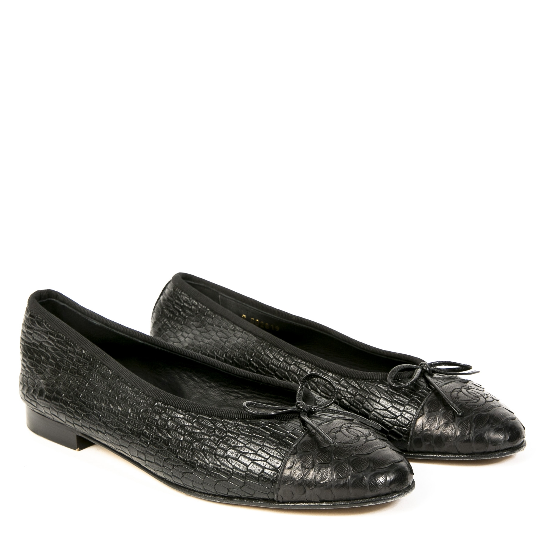 We buy and sell your authentic Chanel Black Python Ballerina Flats - size 40.5