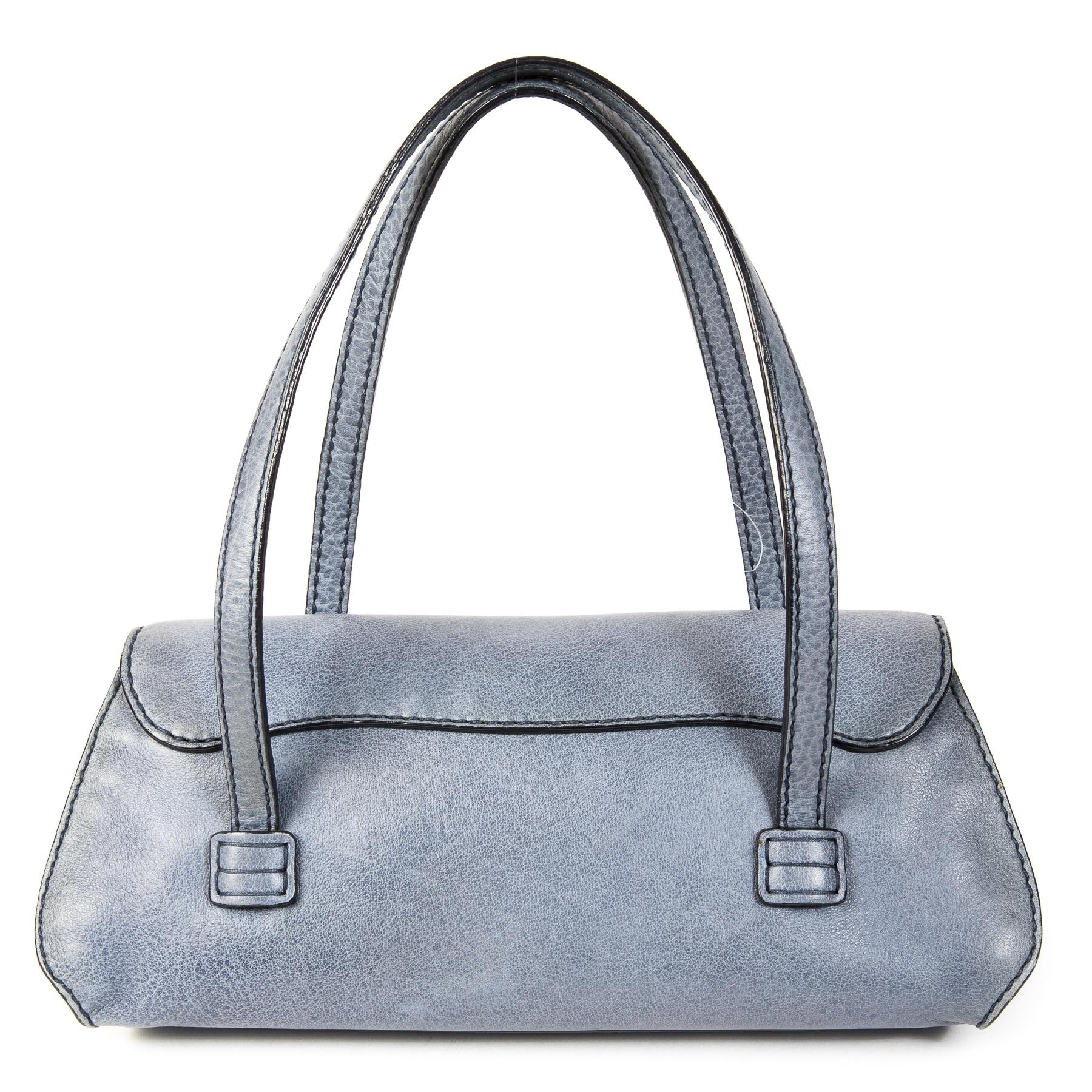 Authentieke Tweedehands Tods Blue Leather Shoulder Bag juiste prijs veilig online shoppen luxe merken webshop winkelen Antwerpen België mode fashion