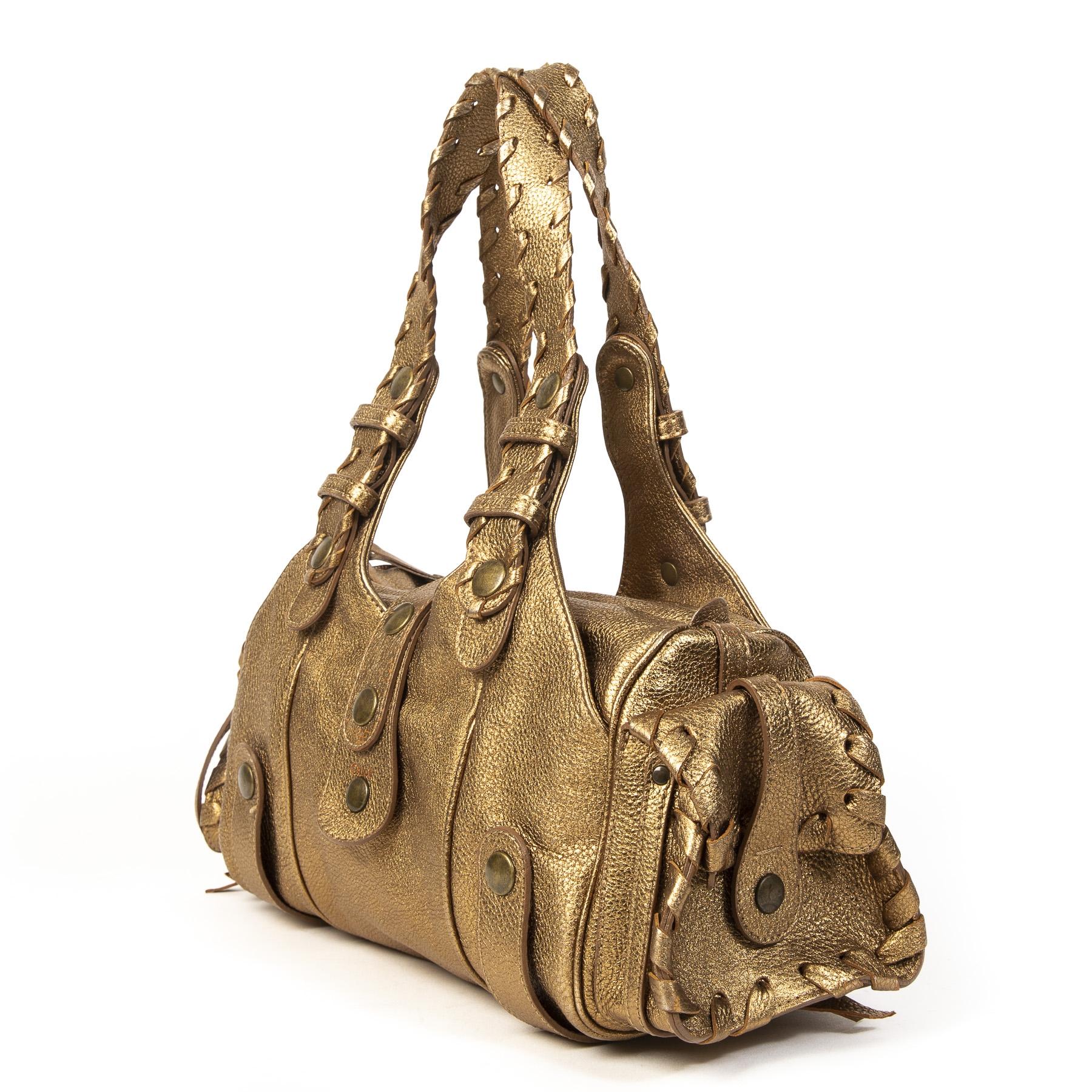 Authentieke tweedehands Chloé Metallic Bronze Leather Silverado Satchel juiste prijs veilig online winkelen LabelLOV webshop luxe merken winkelen Antwerpen België mode fashion