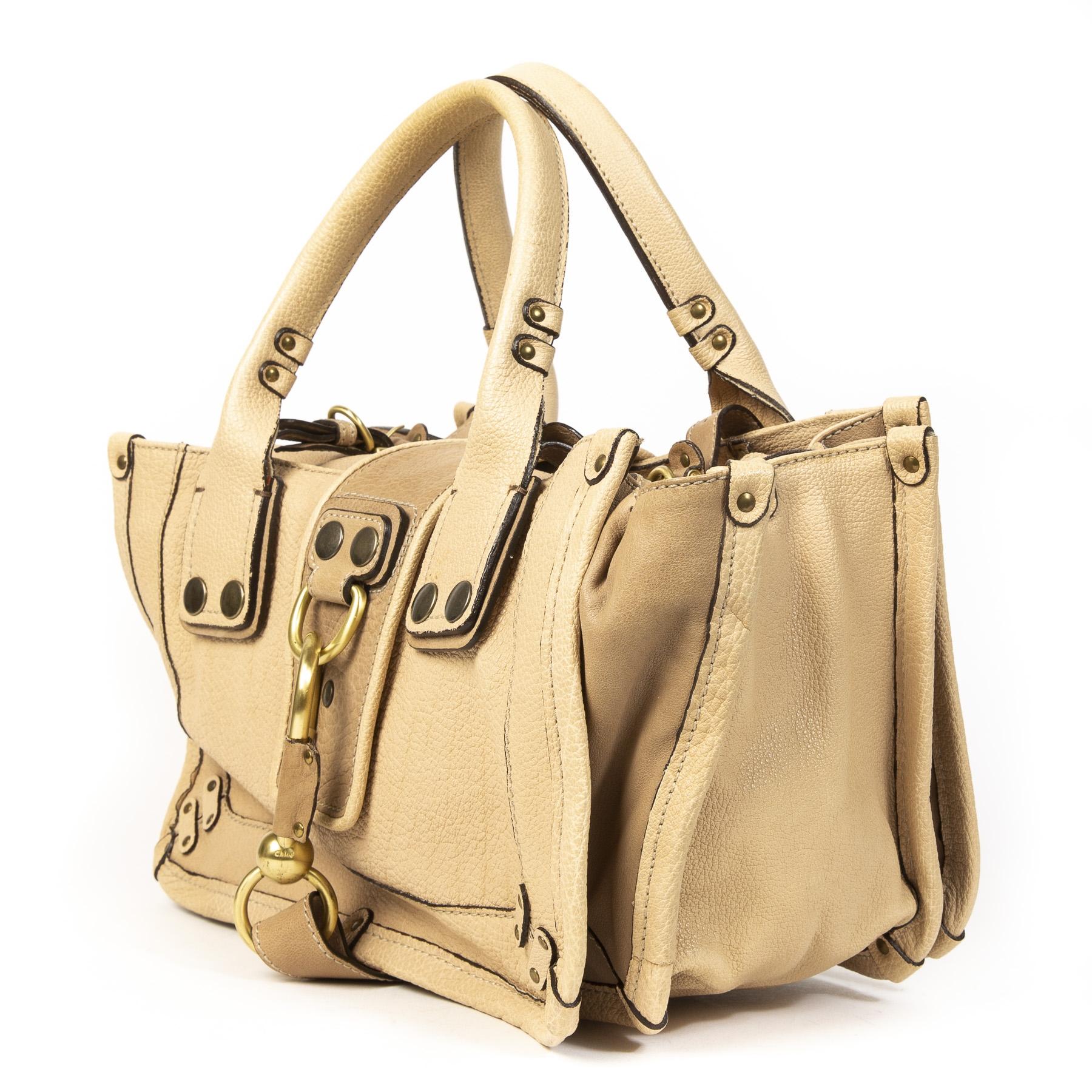 Authentieke tweedehands Chloé Beige Leather schoudertas juiste prijs veilig online winkelen LabelLOV webshop luxe merken winkelen Antwerpen België mode fashion
