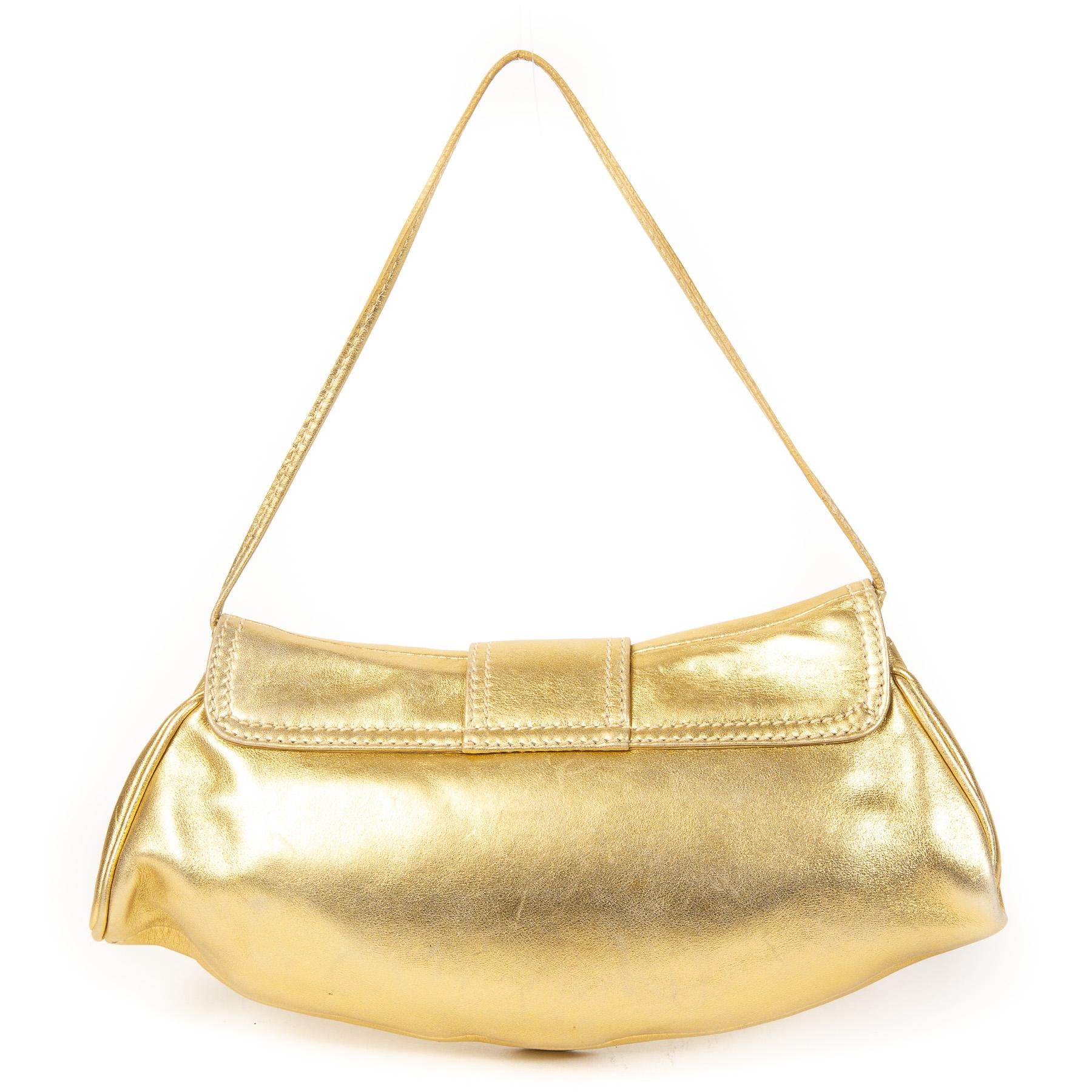 Authentieke Tweedehands Céline Gold Leather Buckle Bag juiste prijs veilig online shoppen luxe merken webshop winkelen Antwerpen België mode fashion