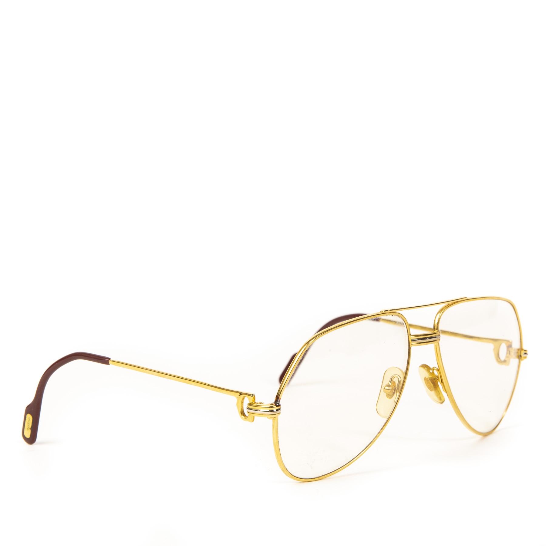 Authentieke Tweedehands Cartier Gold Tank Aviator Sunglasses juiste prijs veilig online shoppen luxe merken webshop winkelen Antwerpen België mode fashion
