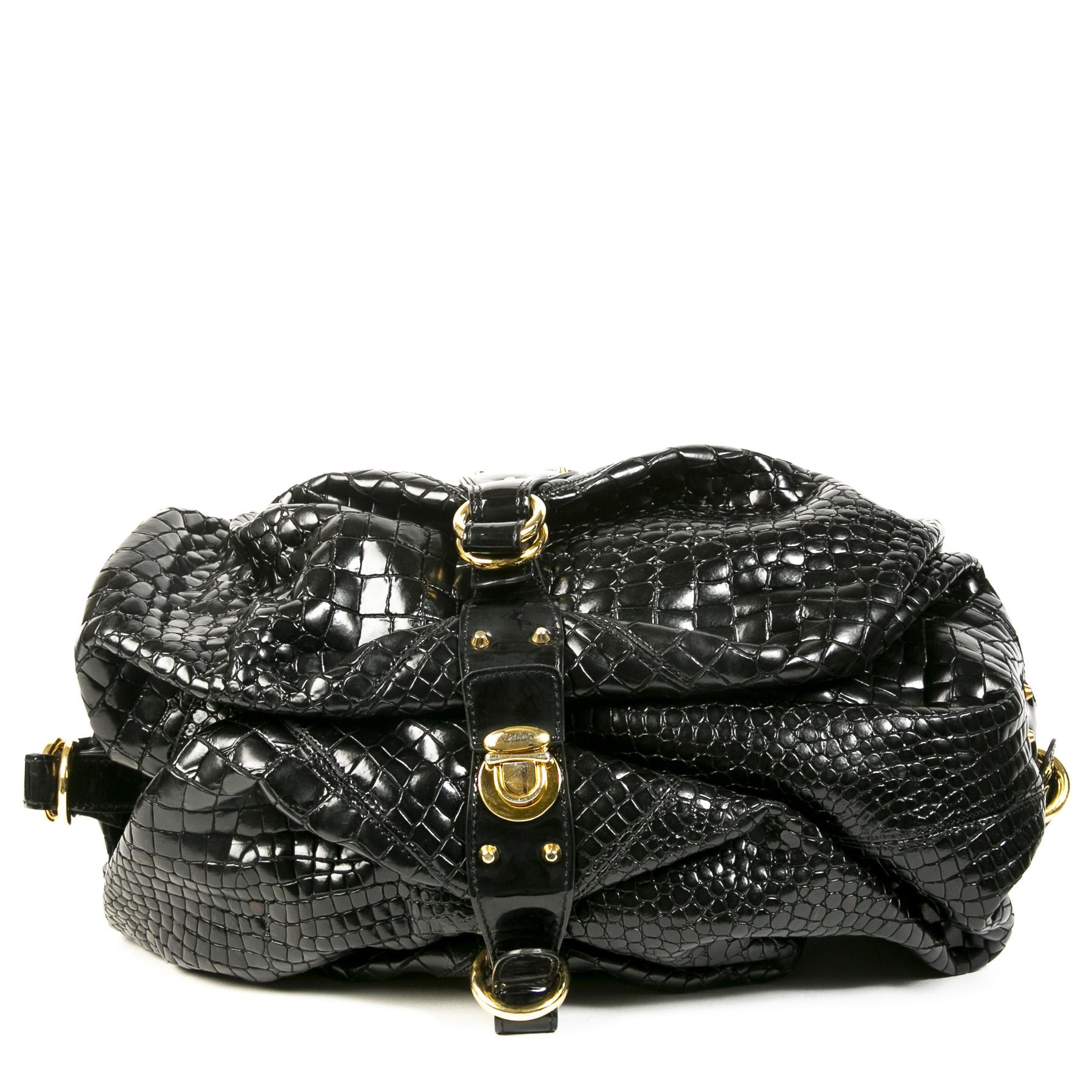 Authentieke Tweedehands Roberto Cavalli Black Crocodile Shoulder Bag juiste prijs veilig online shoppen luxe merken webshop winkelen Antwerpen België mode fashion