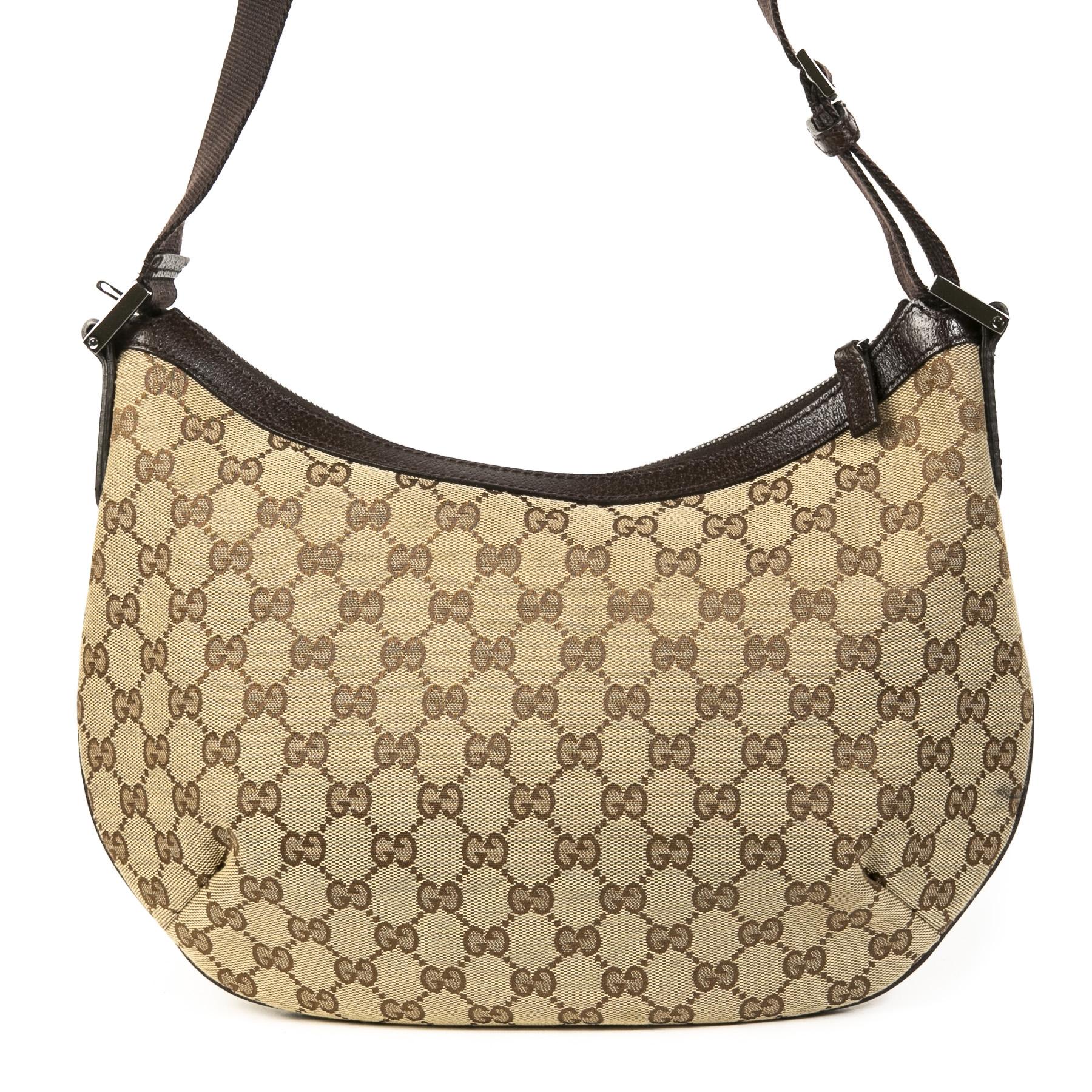 Authentieke Tweedehands Gucci Monogram Canvas Shoulder Bag juiste prijs veilig online shoppen luxe merken webshop winkelen Antwerpen België mode fashion