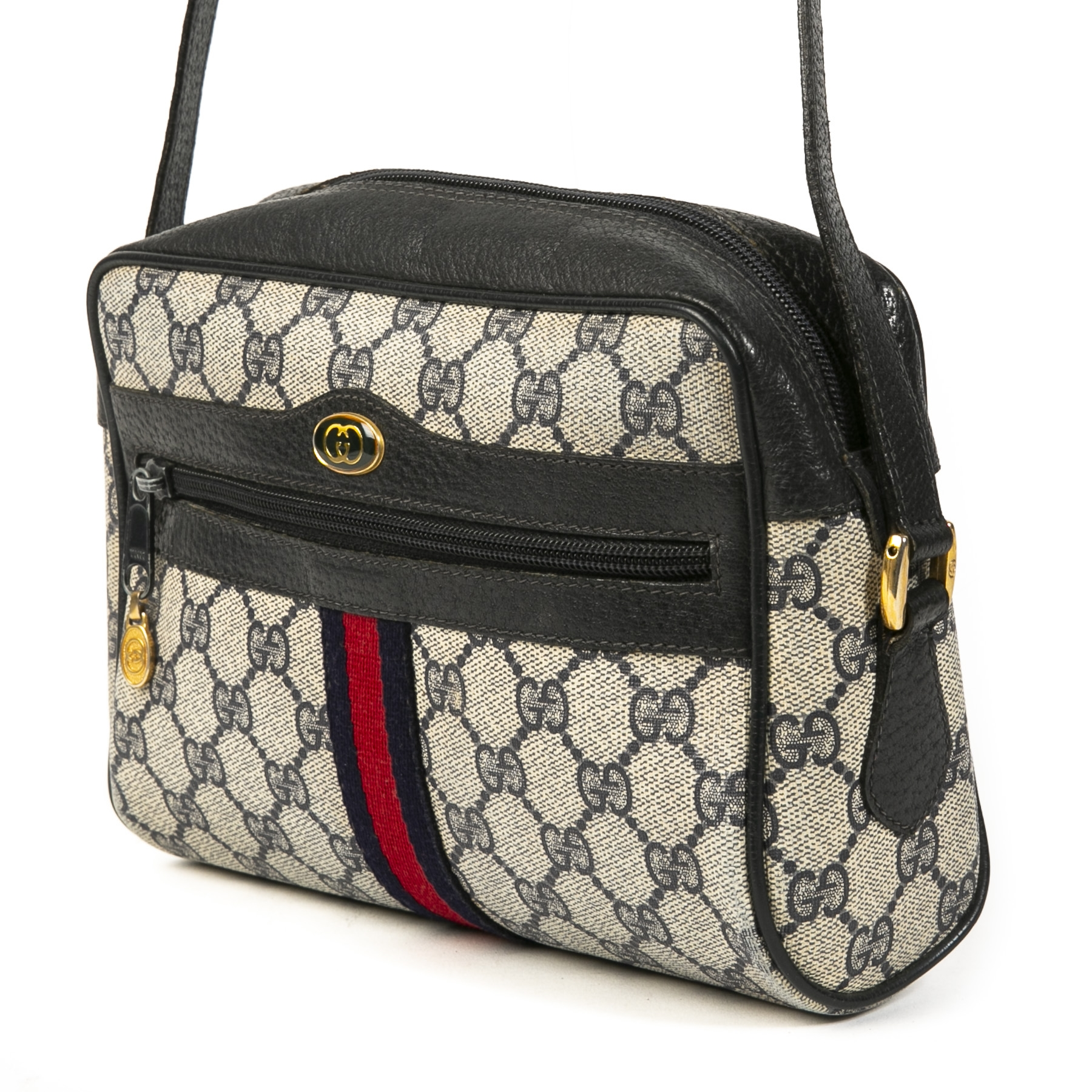 Authentic second-hand vintage Gucci Web Monogram Blue Crossbody Bag buy online webshop LabelLOV