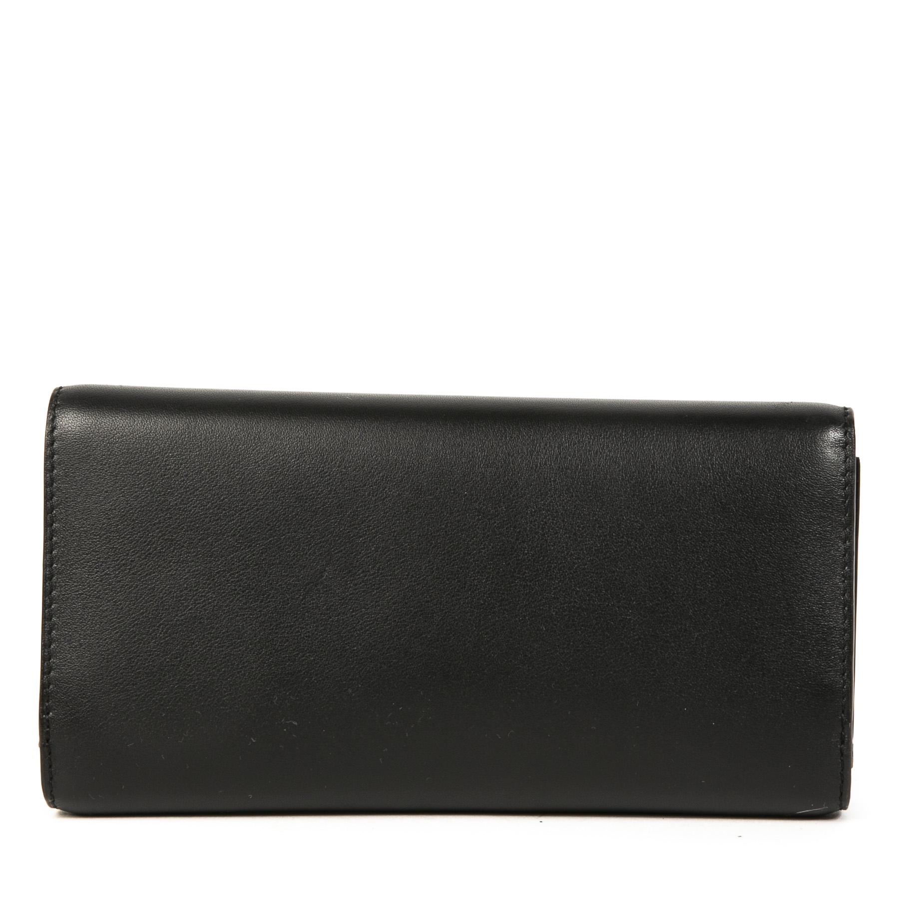 Authentieke Tweedehands Delvaux Black Leather Wallet juiste prijs veilig online shoppen luxe merken webshop winkelen Antwerpen België mode fashion
