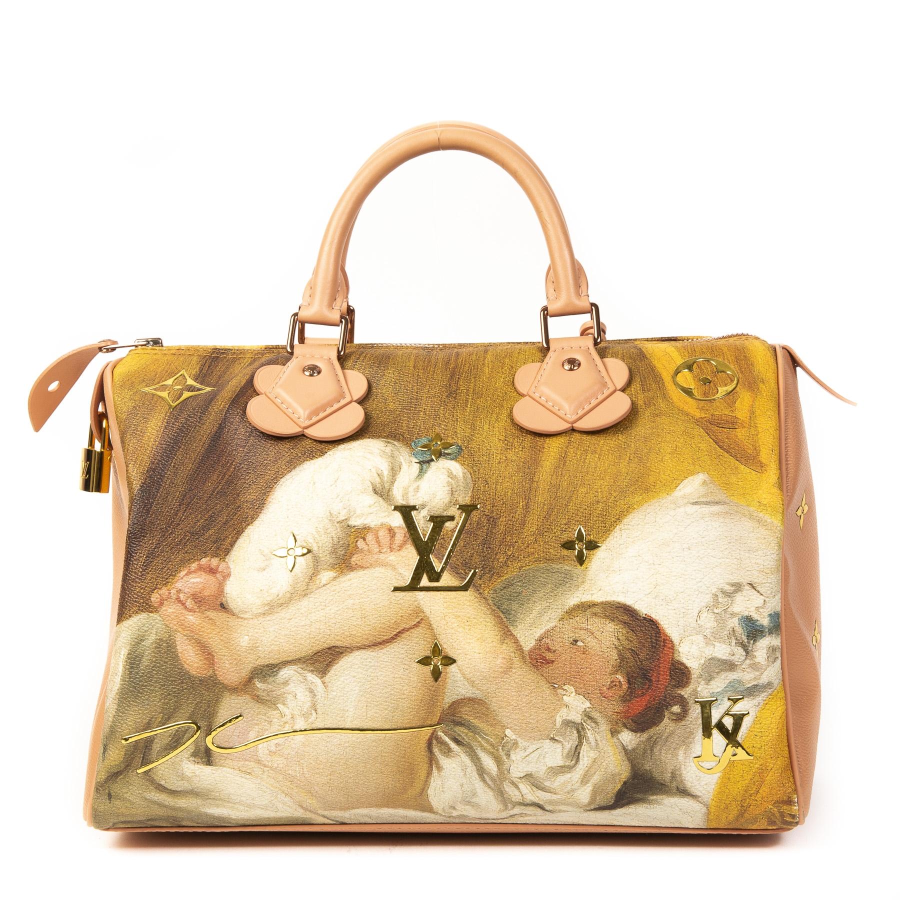 Authentieke Tweedehands Louis Vuitton Masters x Jeff Koons Pink Speedy 30 Fragonard Bag juiste prijs veilig online shoppen luxe merken webshop winkelen Antwerpen België mode fashion