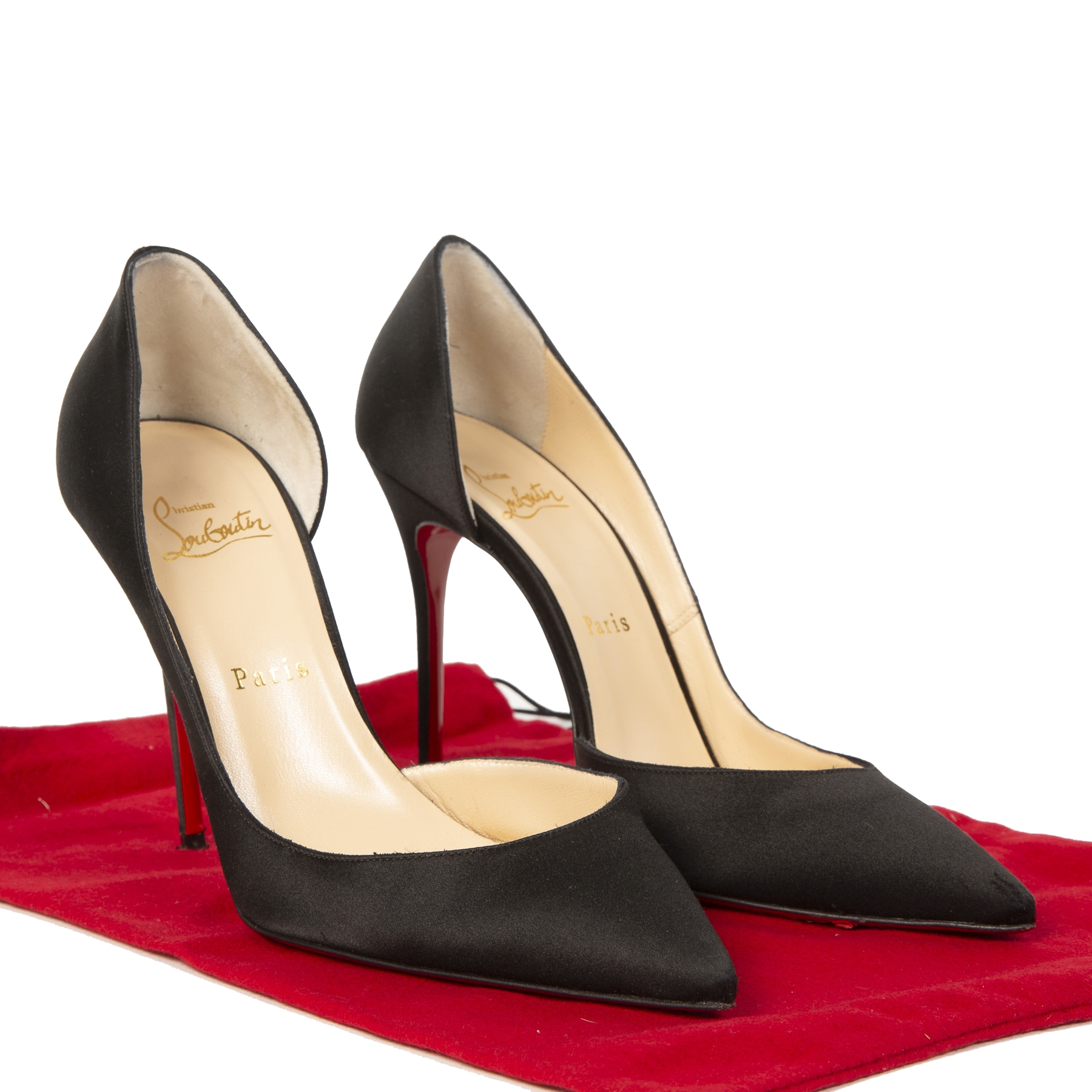 Christian Louboutin Black Satin Iriza 100 Pumps - size 39.5
