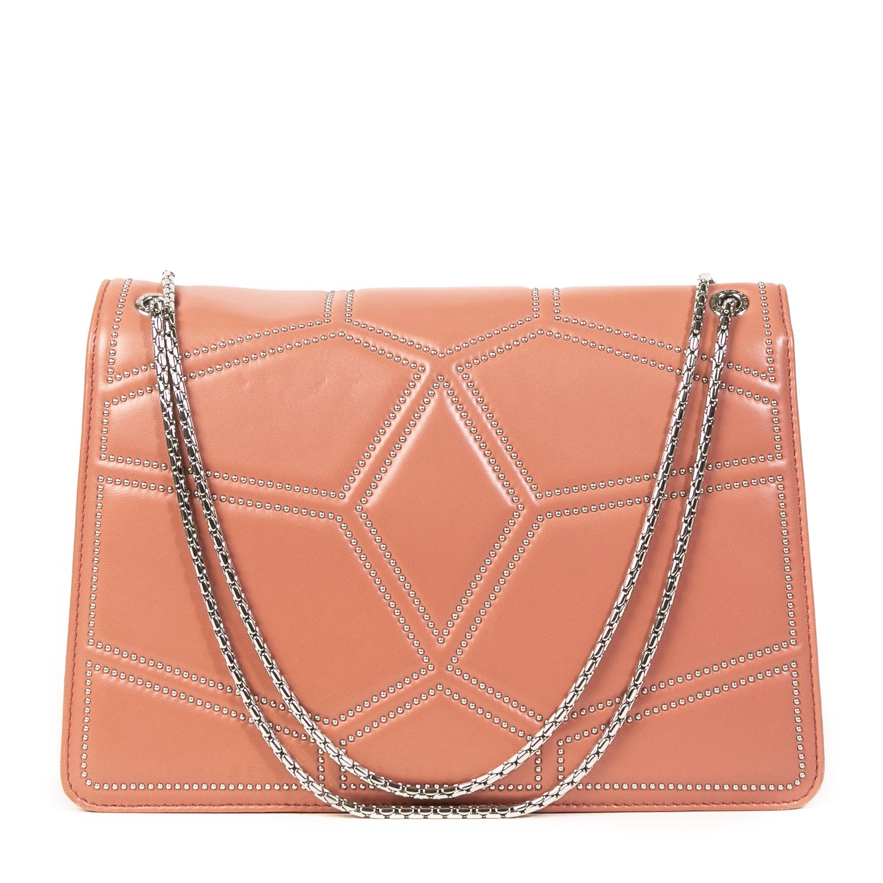 Authentieke Tweedehands Bulgari Pink Serpentine Flap Bag juiste prijs veilig online shoppen luxe merken webshop winkelen Antwerpen België mode fashion