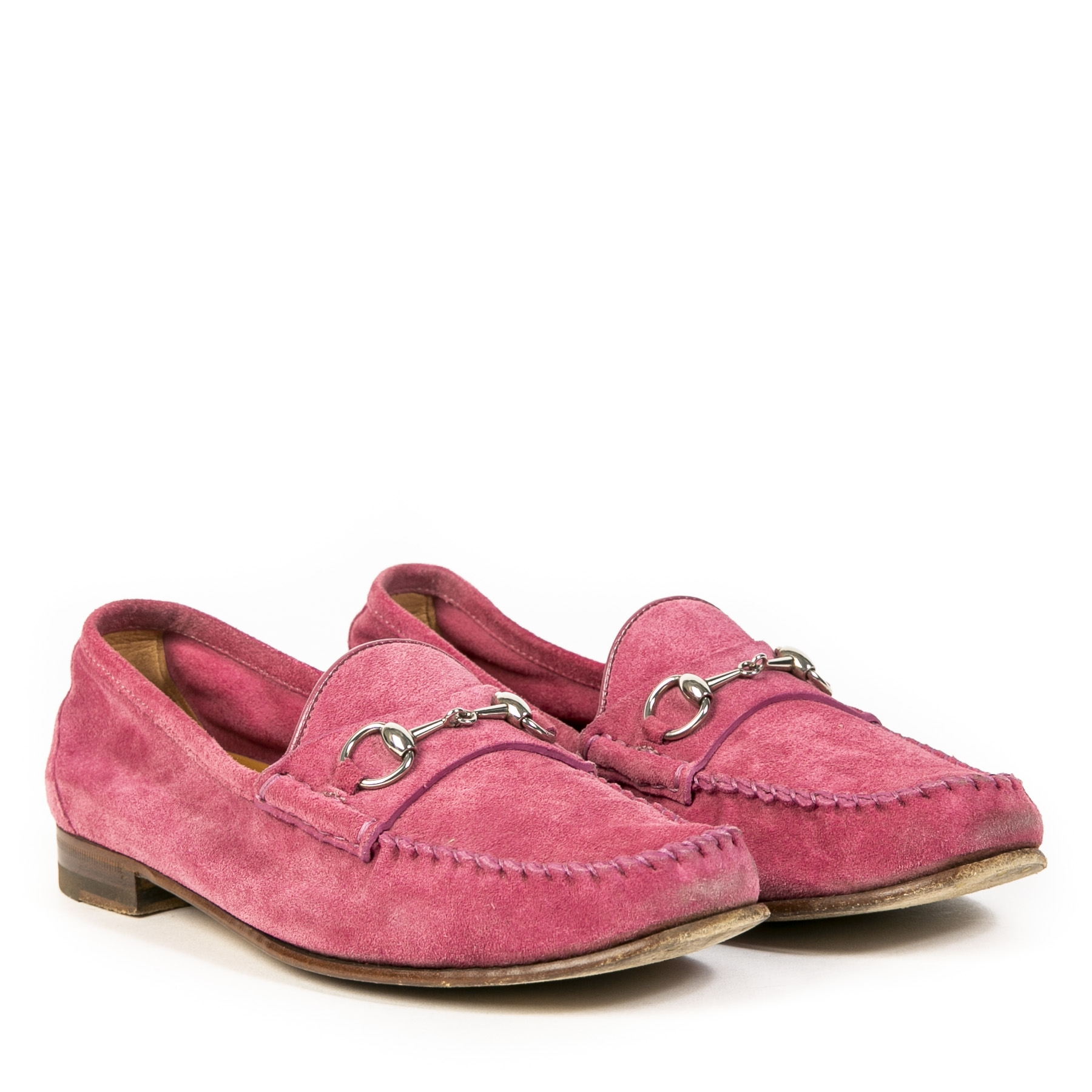 Gucci Peony Pink Suede Leather Horsebit Loafers - 37.5