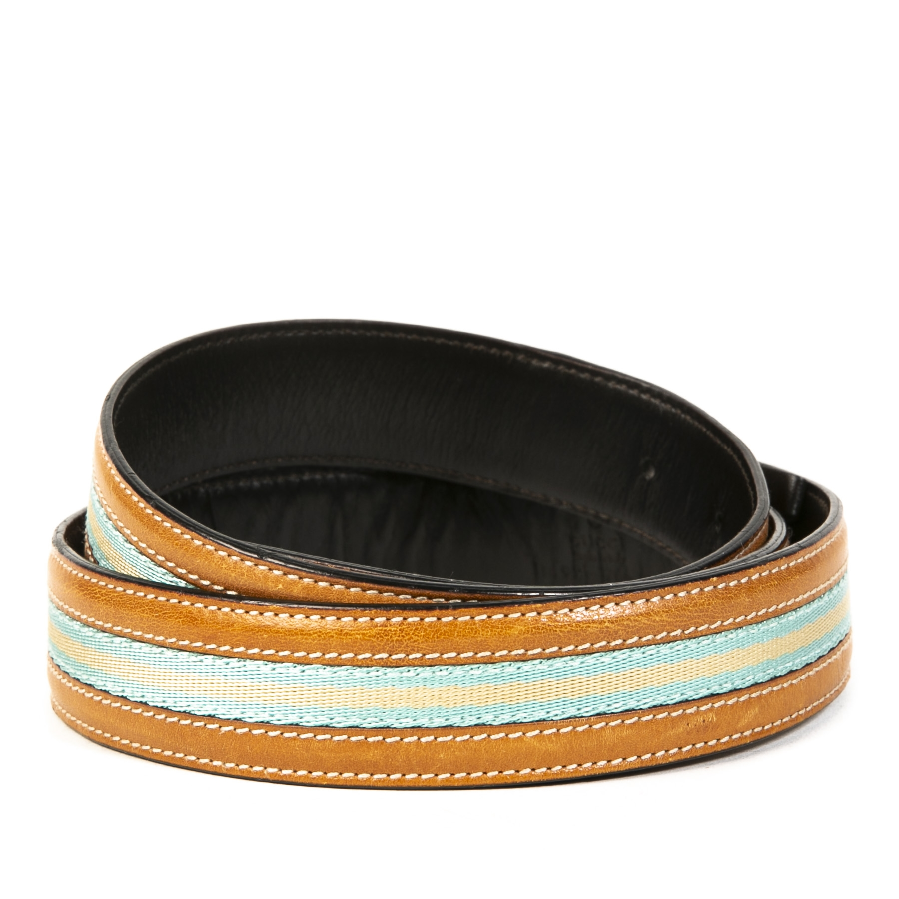 Gucci Cognac Blue Stripe Belt - size 90
