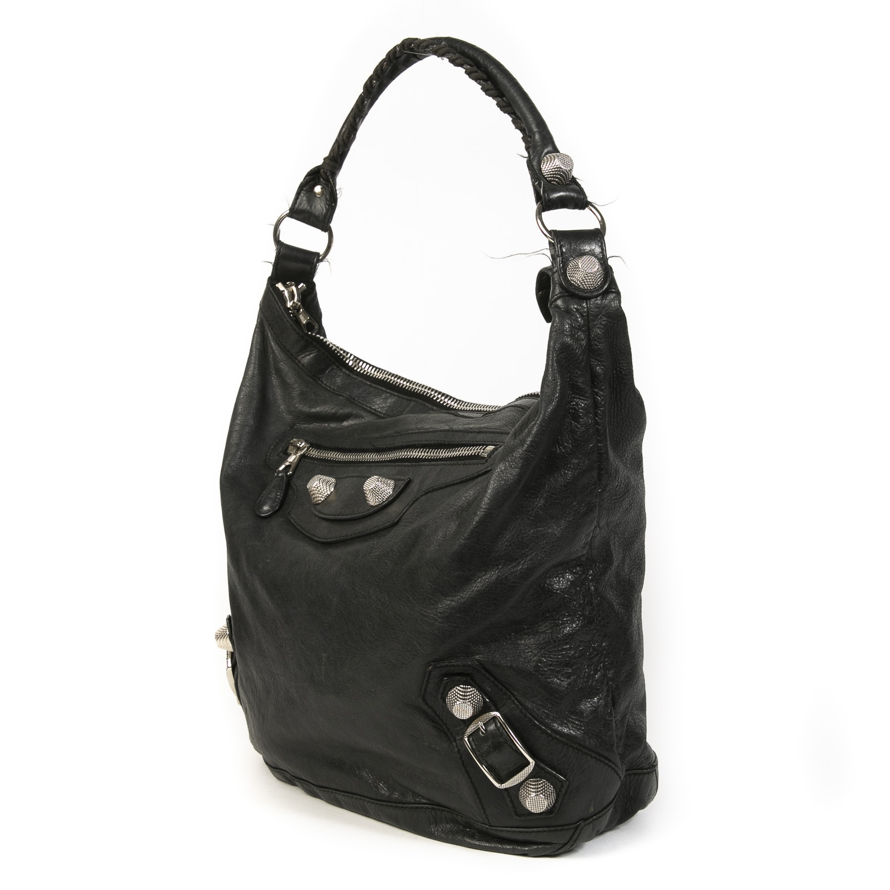 Authentieke tweedehands vintage Balenciaga Black Giant Day Bag koop online webshop LabelLOV