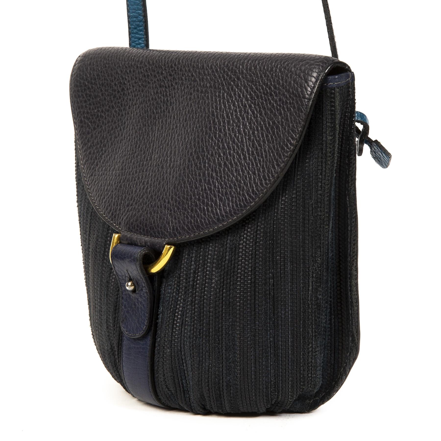 Delvaux Blue Toile de Cuir Crossbody Bag