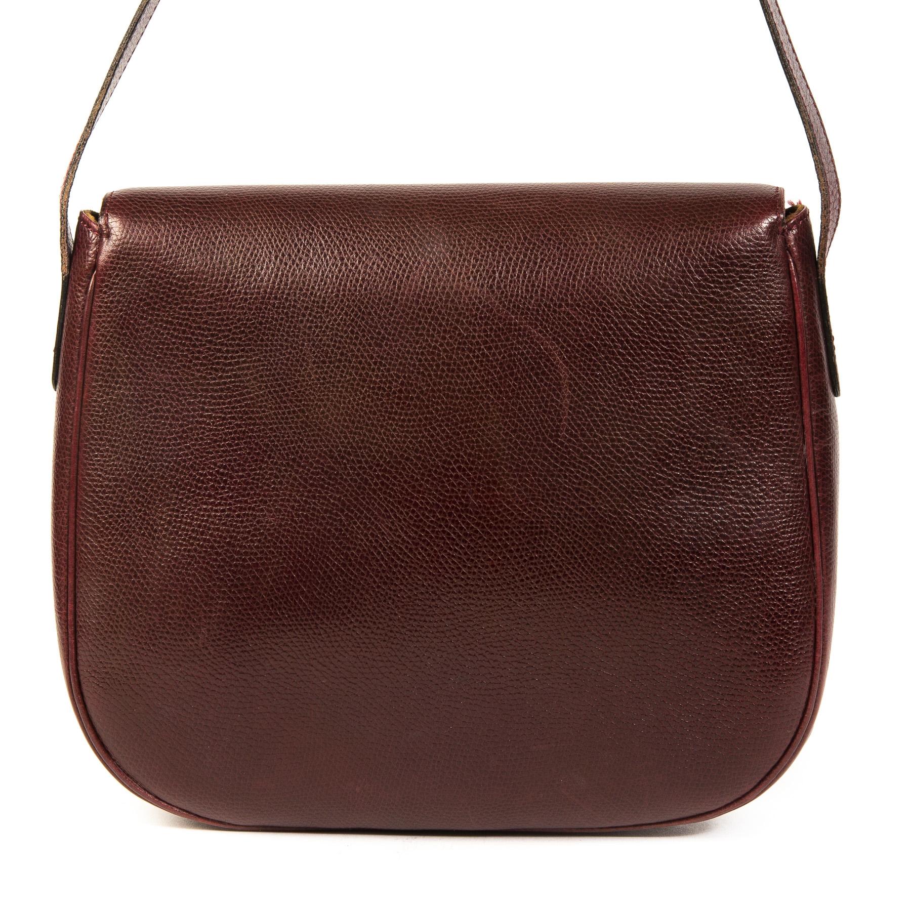 Authentieke Tweedehands Delvaux Bordeaux Leather Shoulder Bag juiste prijs veilig online shoppen luxe merken webshop winkelen Antwerpen België mode fashion