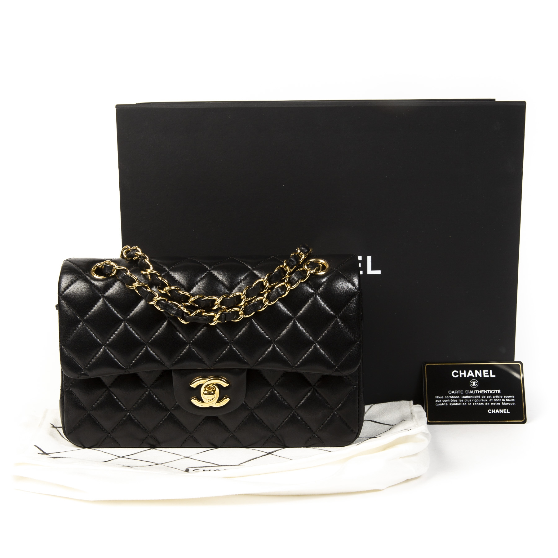 8417a37eb ... Chanel Small Black Classic Flap Bag GHW. Buy authentic secondhand chanel  bag online at labellov