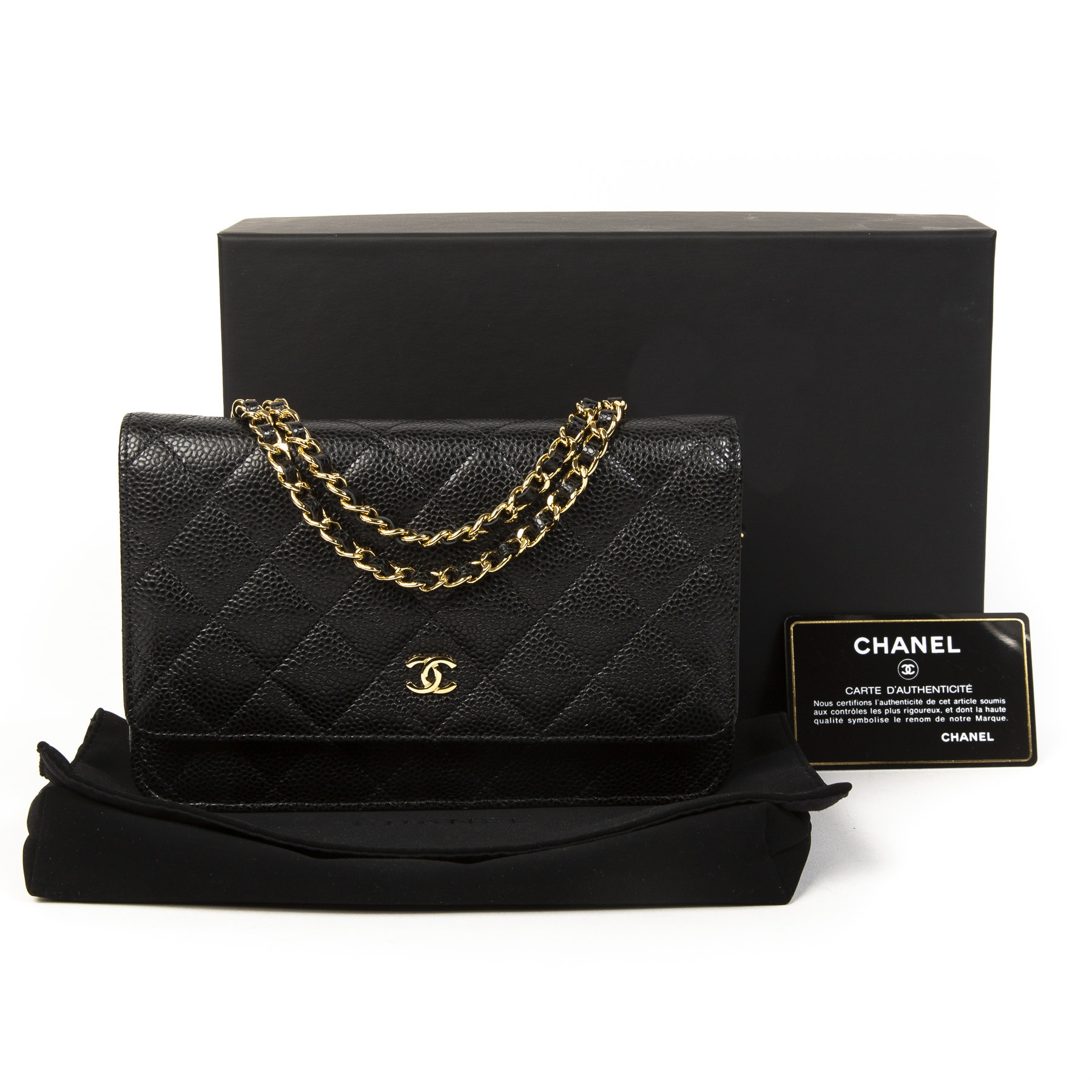 c99dc2244 ... Chanel Black Caviar Leather Wallet On Chain. Buy secondhand Chanel  handbags at Labellov. Safe