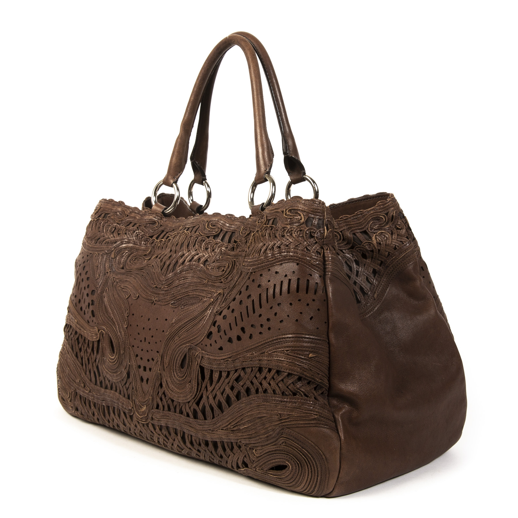 Ermanno Scervino Brown Cutout Shoulder Bag