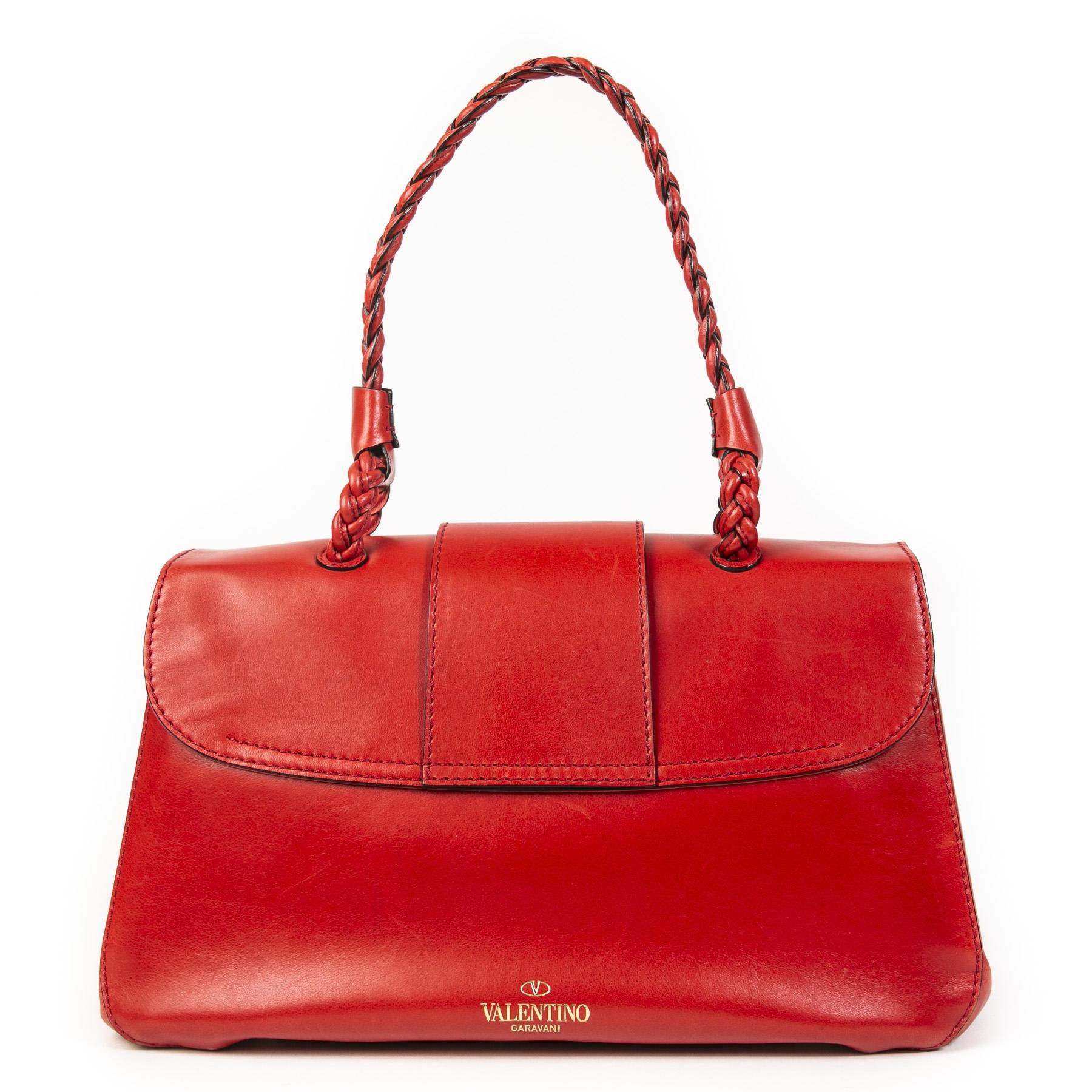 Authentieke Tweedehands Valentino Red Leather Shoulder Bag juiste prijs veilig online shoppen luxe merken webshop winkelen Antwerpen België mode fashion
