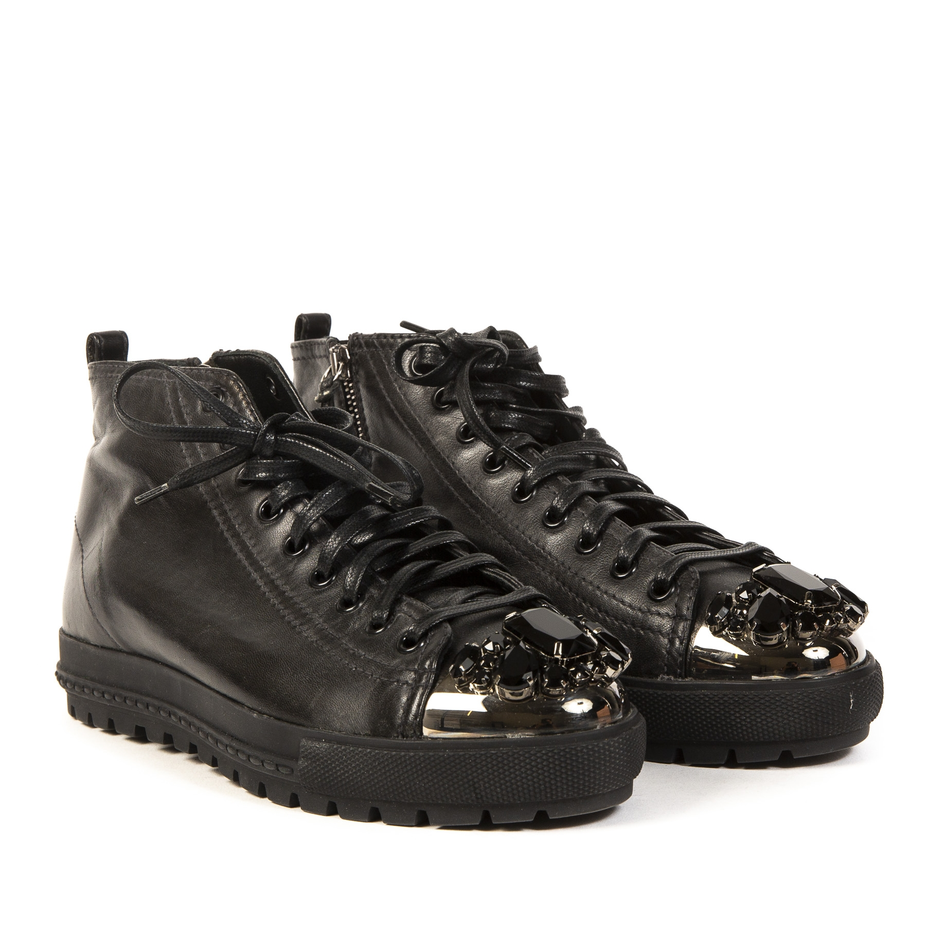 Authentieke Tweedehands Miu Miu Black Bejewelled Sneakers juiste prijs veilig online shoppen luxe merken webshop winkelen Antwerpen België mode fashion