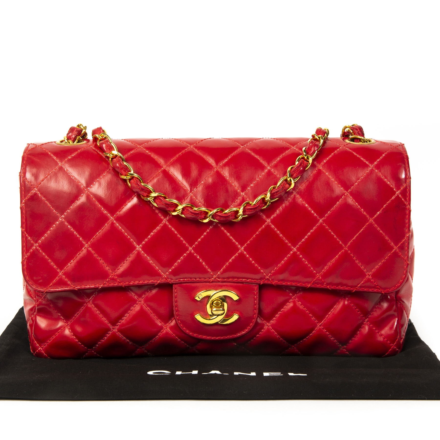 5d9c159882e ... Chanel Vintage Red Medium Classic Flap Bag GHW. Buy authentic iconic  secondhand chanel classic flap