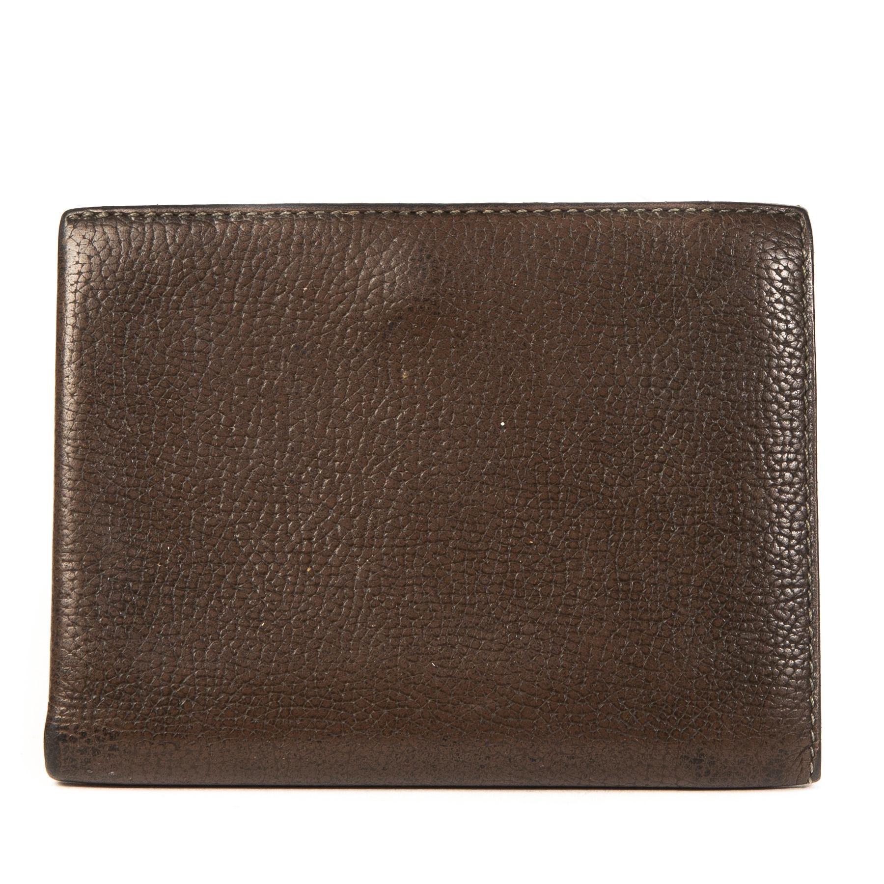 Authentieke Tweedehands Delvaux Chocolate Brown Leather Wallet juiste prijs veilig online shoppen luxe merken webshop winkelen Antwerpen België mode fashion