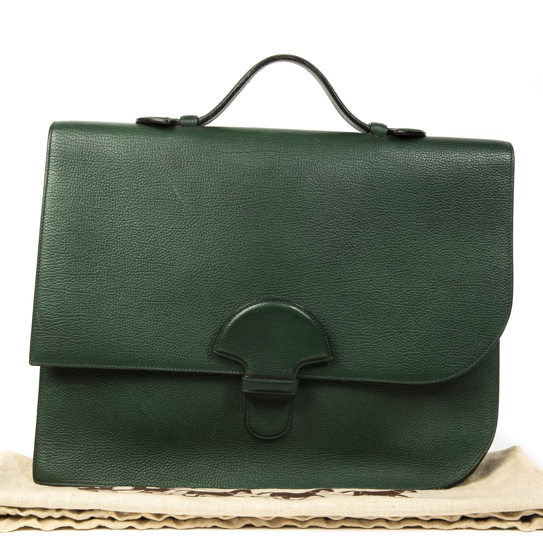 cfc652f8ce3 ... Delvaux Green Cartable Presse Briefcase. Buy authentic secondhand  Delvaux Green Cartable Presse Briefcase at labellov