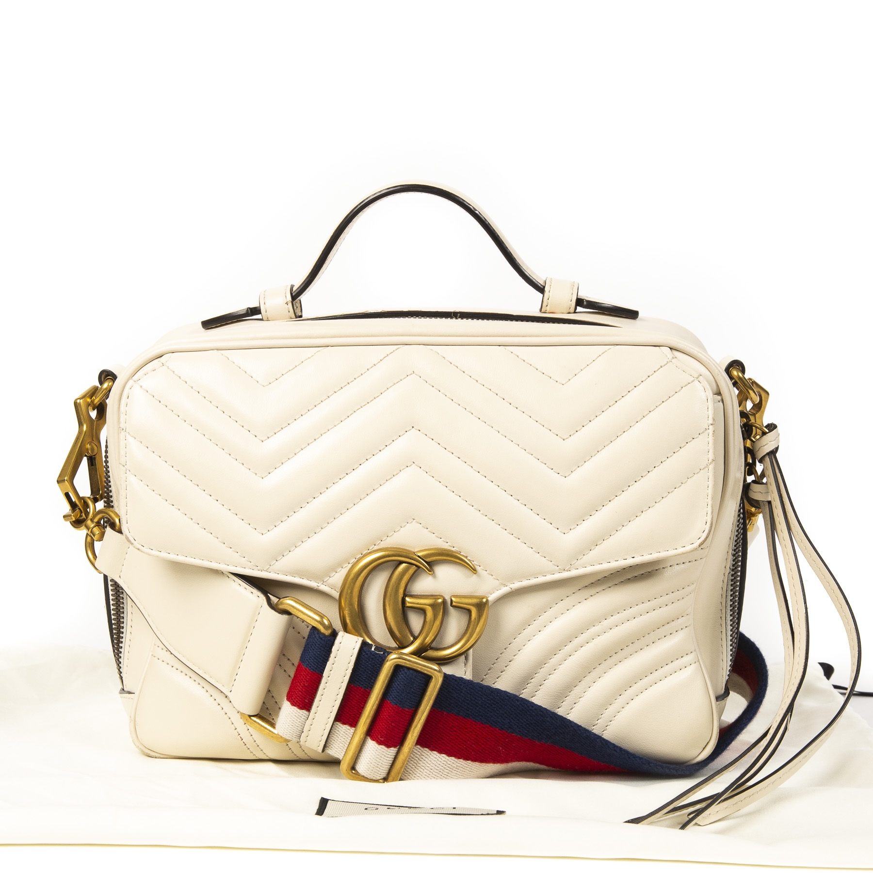 acheter en ligne seconde main Gucci GG Marmont Ivory Mini Top Handle Bag with Special Strap
