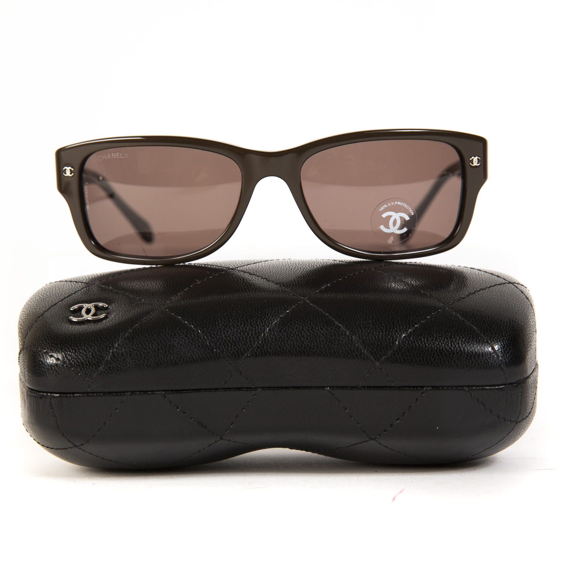 Chanel Rectangle Burgundy Brown Gradient Sunglasses