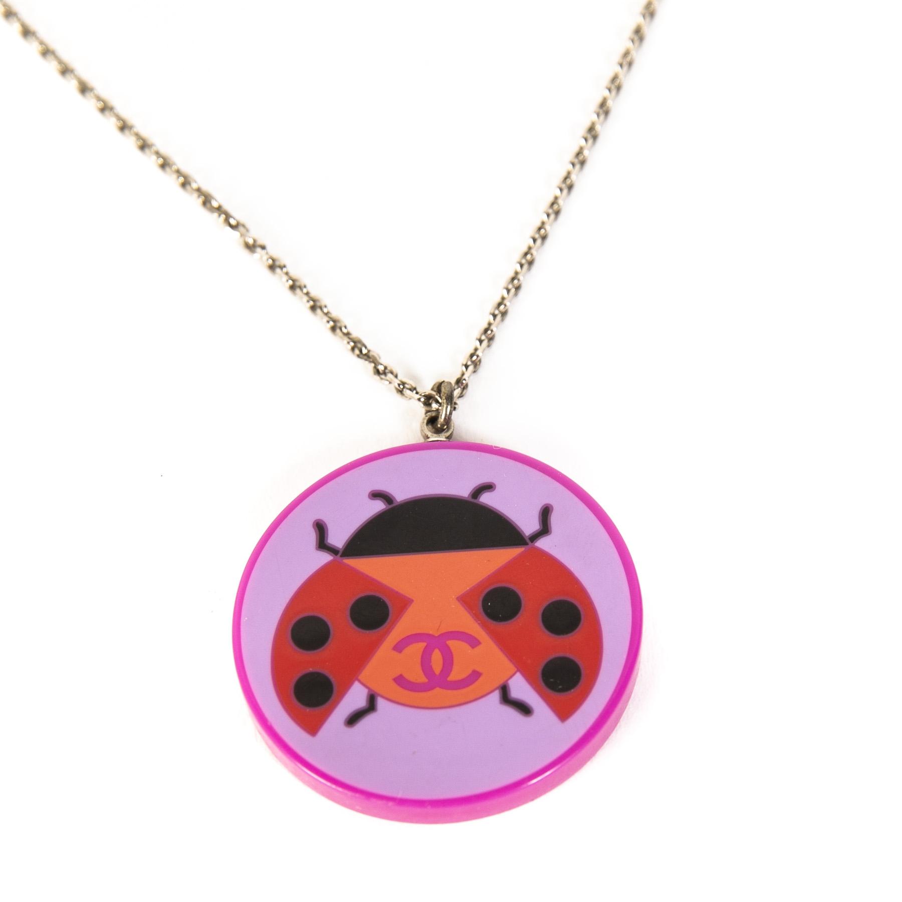 Chanel Purple Ladybuy Pendant Necklace