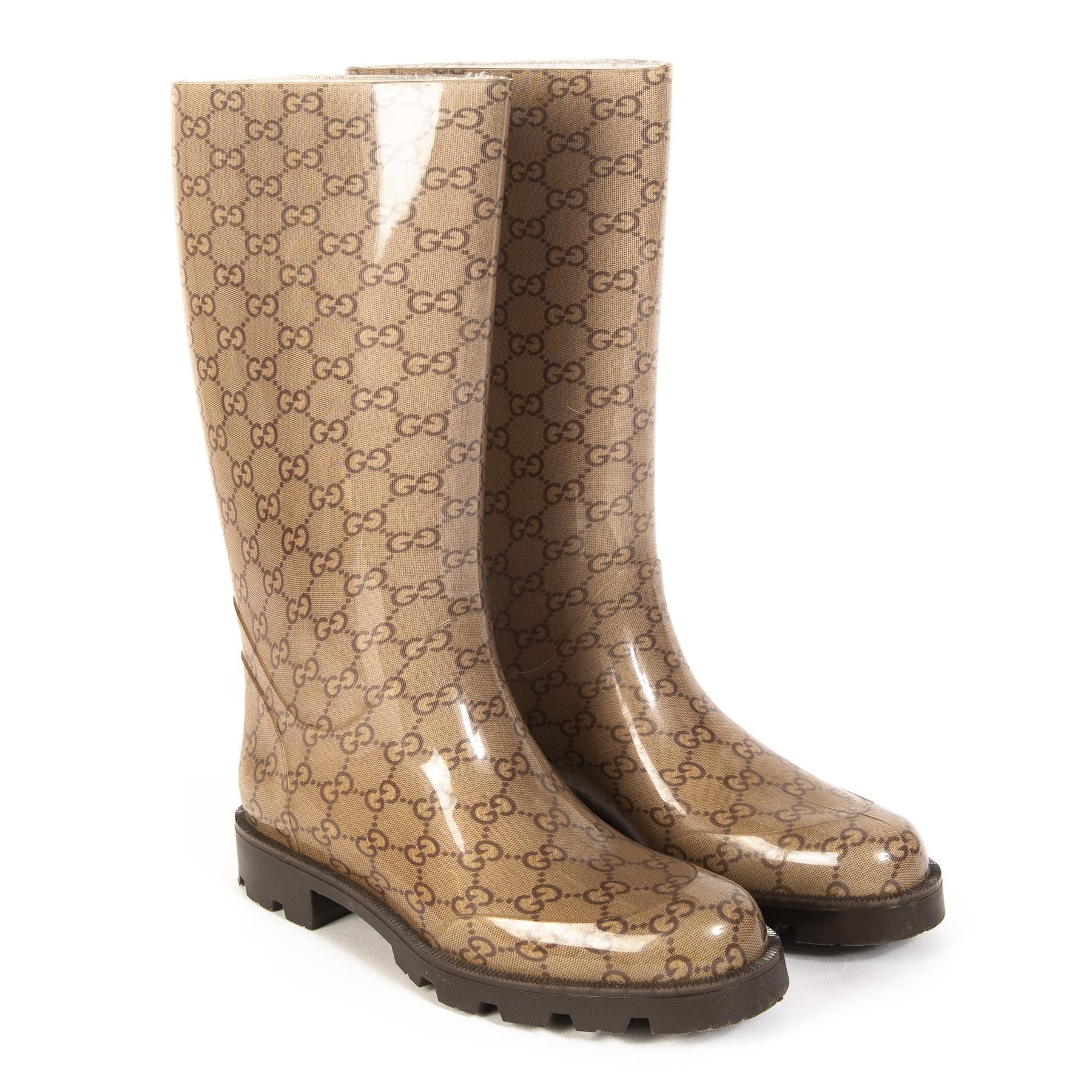 Gucci Monogram Rain Boots - Size 37