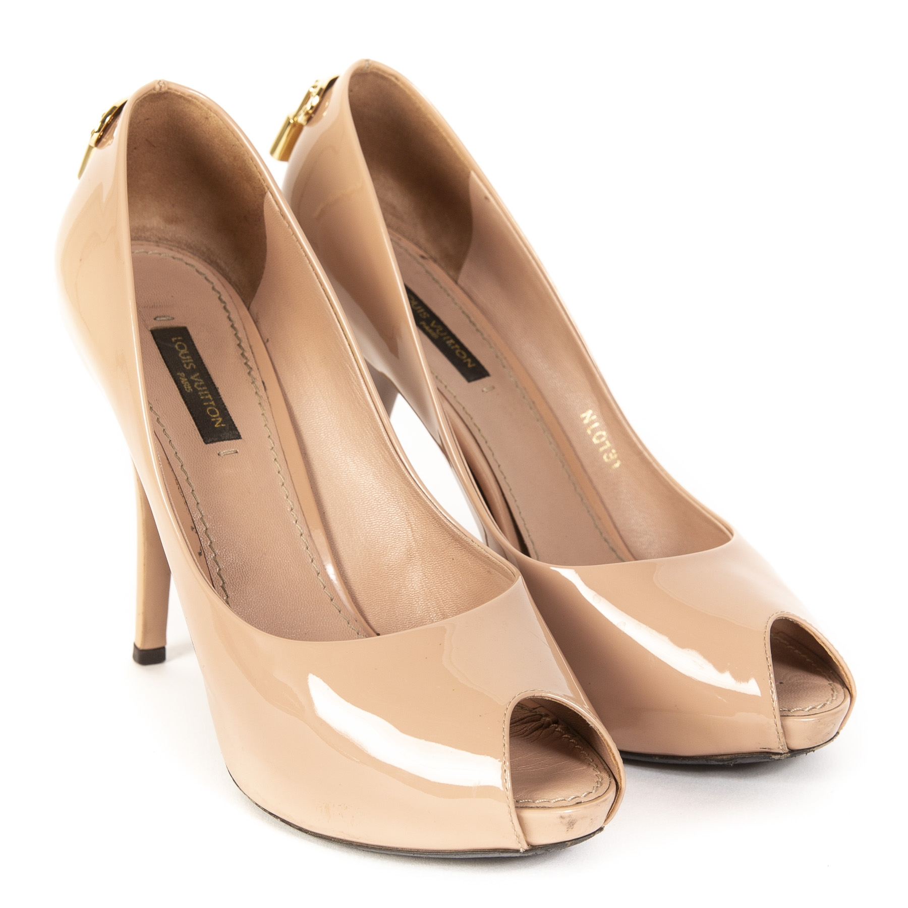 Louis Vuitton 'Oh Really' Blush Pink Patent Peep-toe Pumps