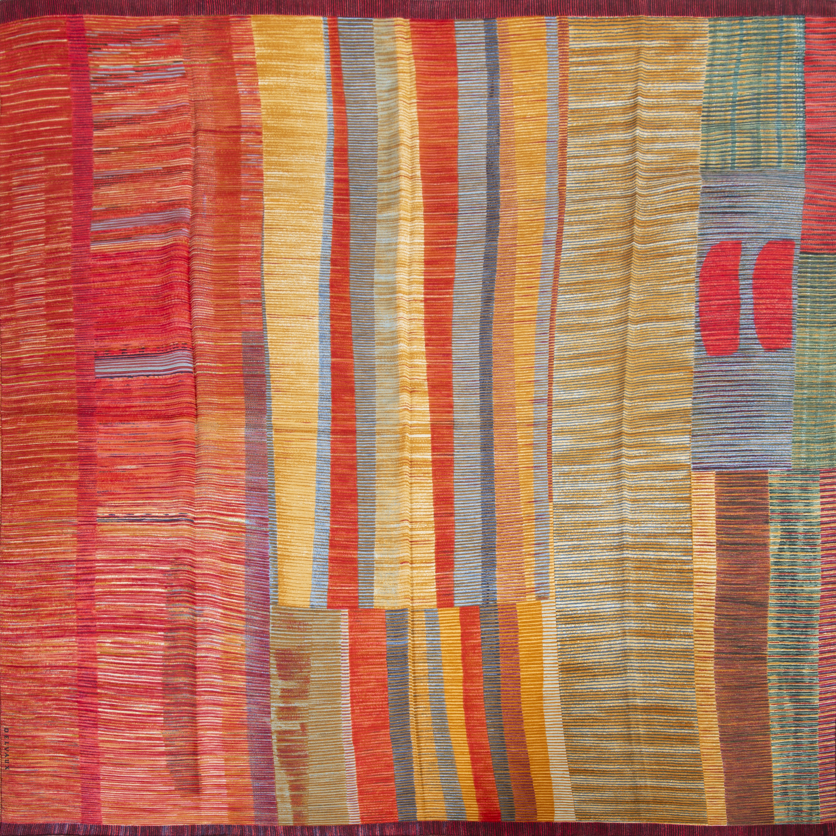 delvaux multicolor striped silk scarf now for sale at labellov vintage fashion webshop