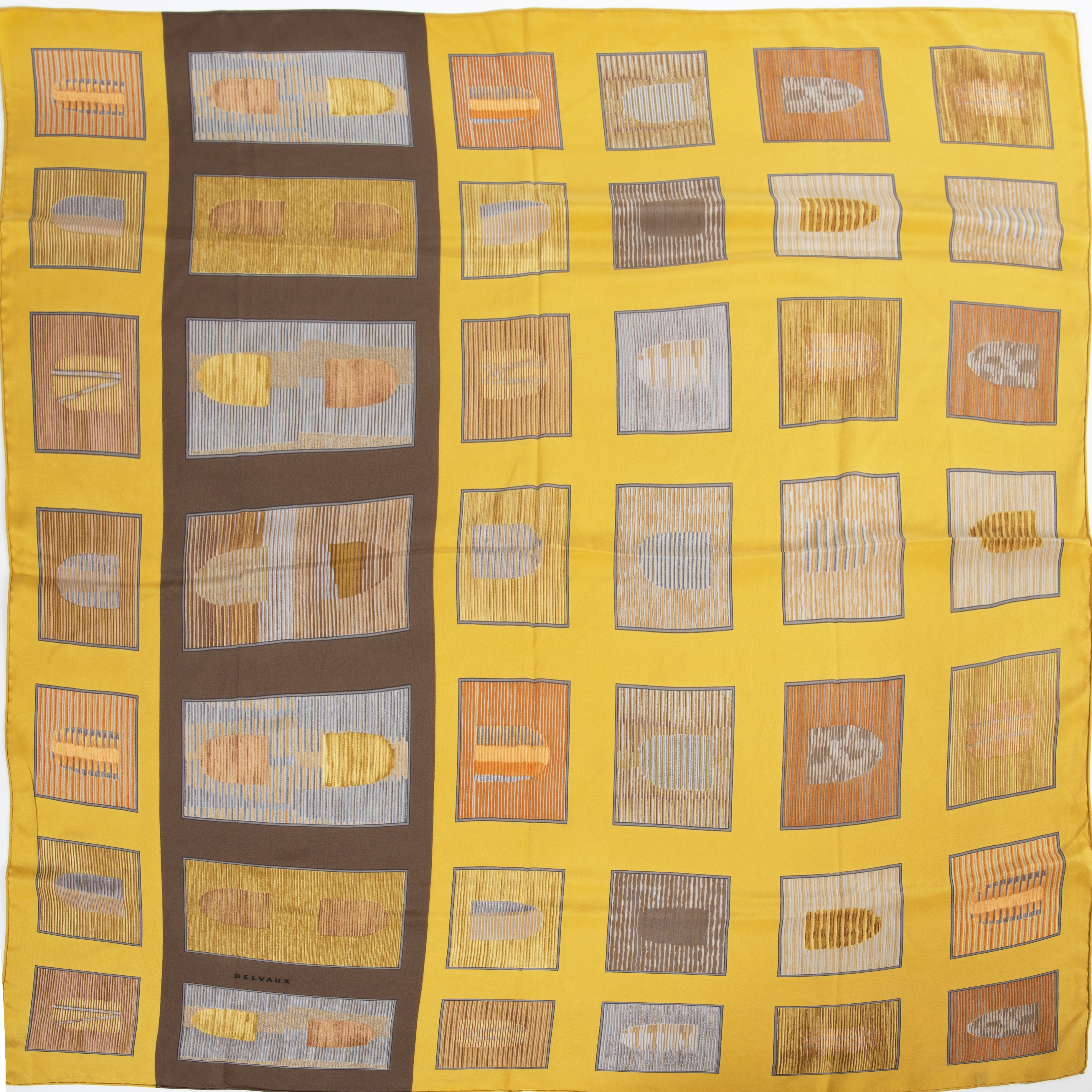 Delvaux Mustard Silk Square Scarf now for sale at Labellov vintage fashion webshop belgium