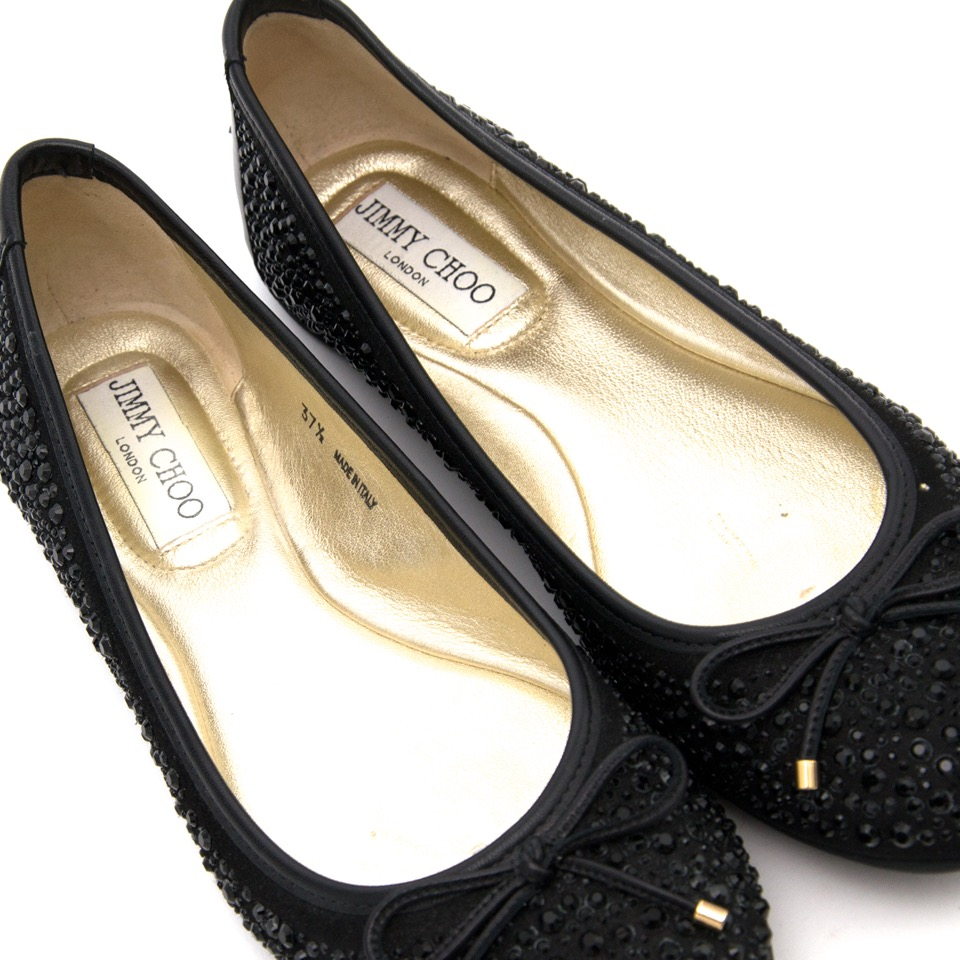 acheter en ligne comme neuf Jimmy Choo women's Black Crystal Studded 'Weber' ballerina flats boetique anvers