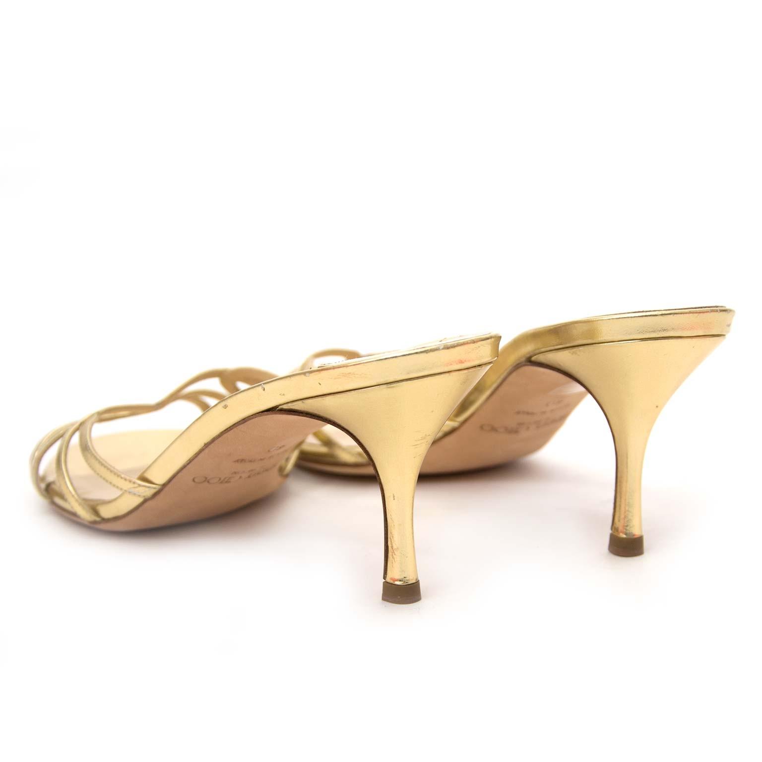 koop veilig onilne Jimmy Choo Metallic Gold Kitten Sandals - Size 40