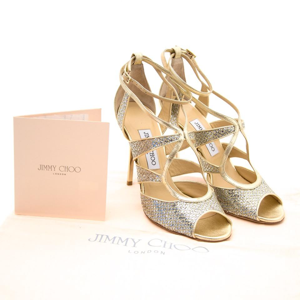 acheter en ligne comme neuf Jimmy Choo Glitter & Metallic Leather Sandals pour le meilleur prix