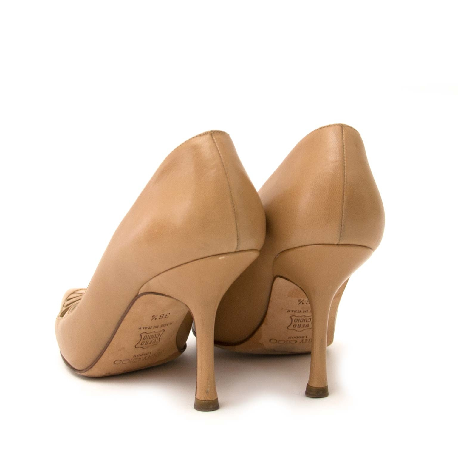jimmy choo nude pointed toe cut-out pumps now for sale at labellov vintage fashion webshop belgium