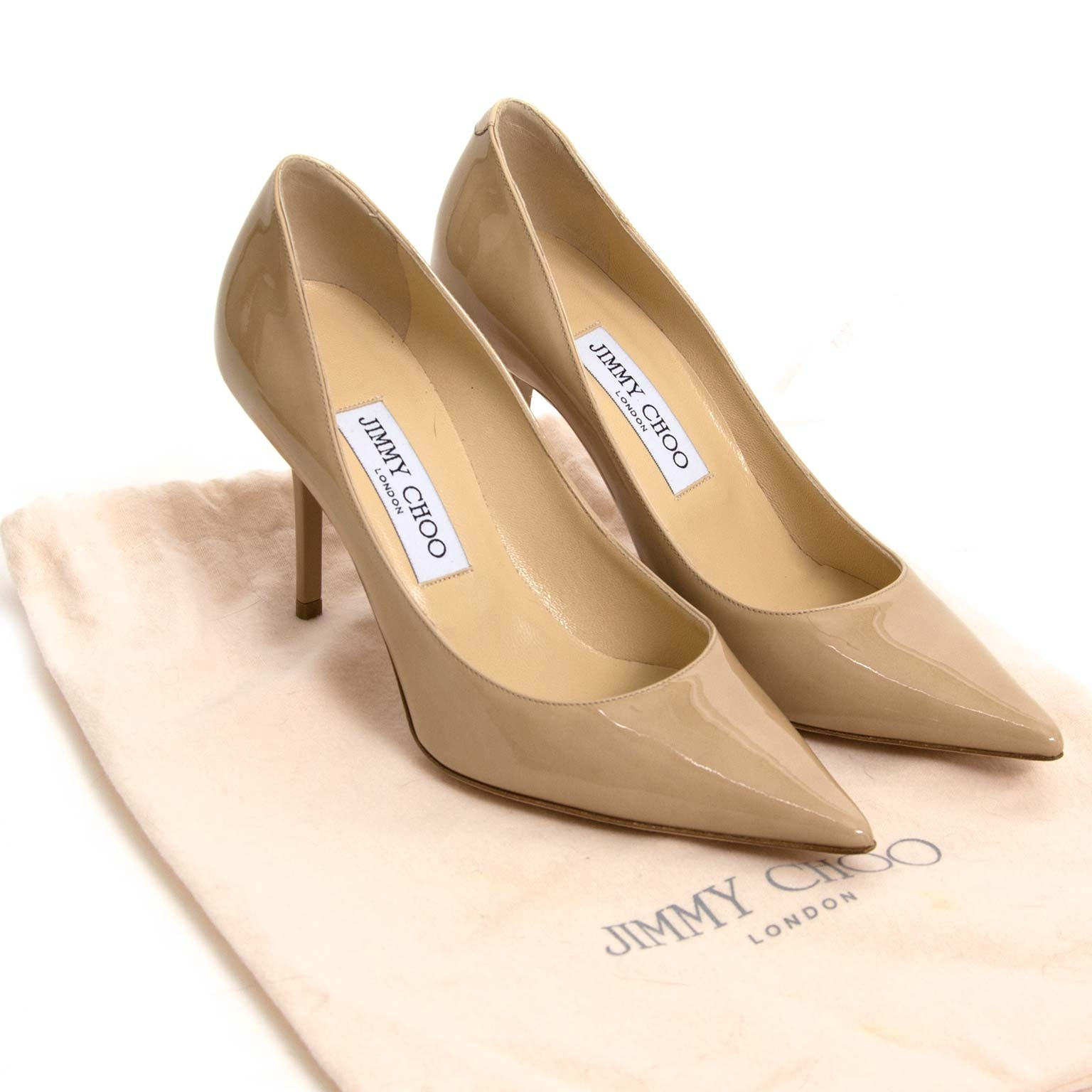 jimmy choo nude patent pumps now for sale at labellov vintage fashion webshop belgium
