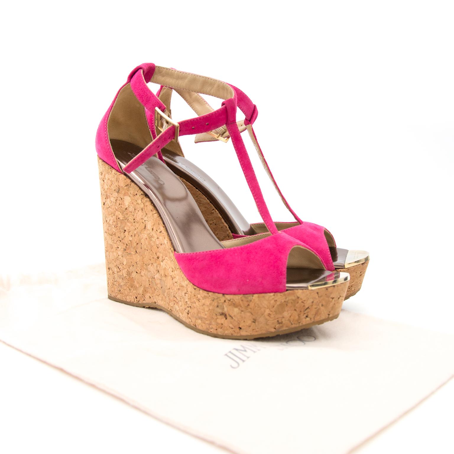Shop luxury items in Antwerp like Jimmy Choo Pink Cork Wedges - Size: 39,5