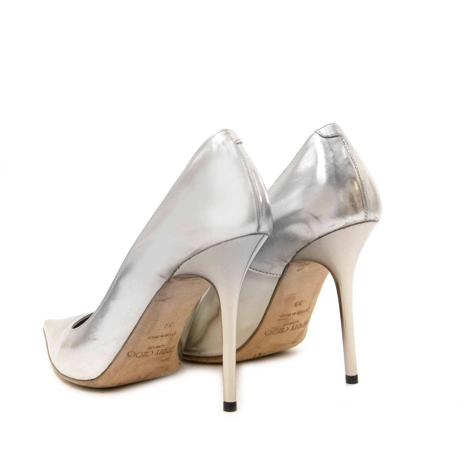 Buy and sell your authentic Jimmy Choo Metallic Silver Pumps - Size 39