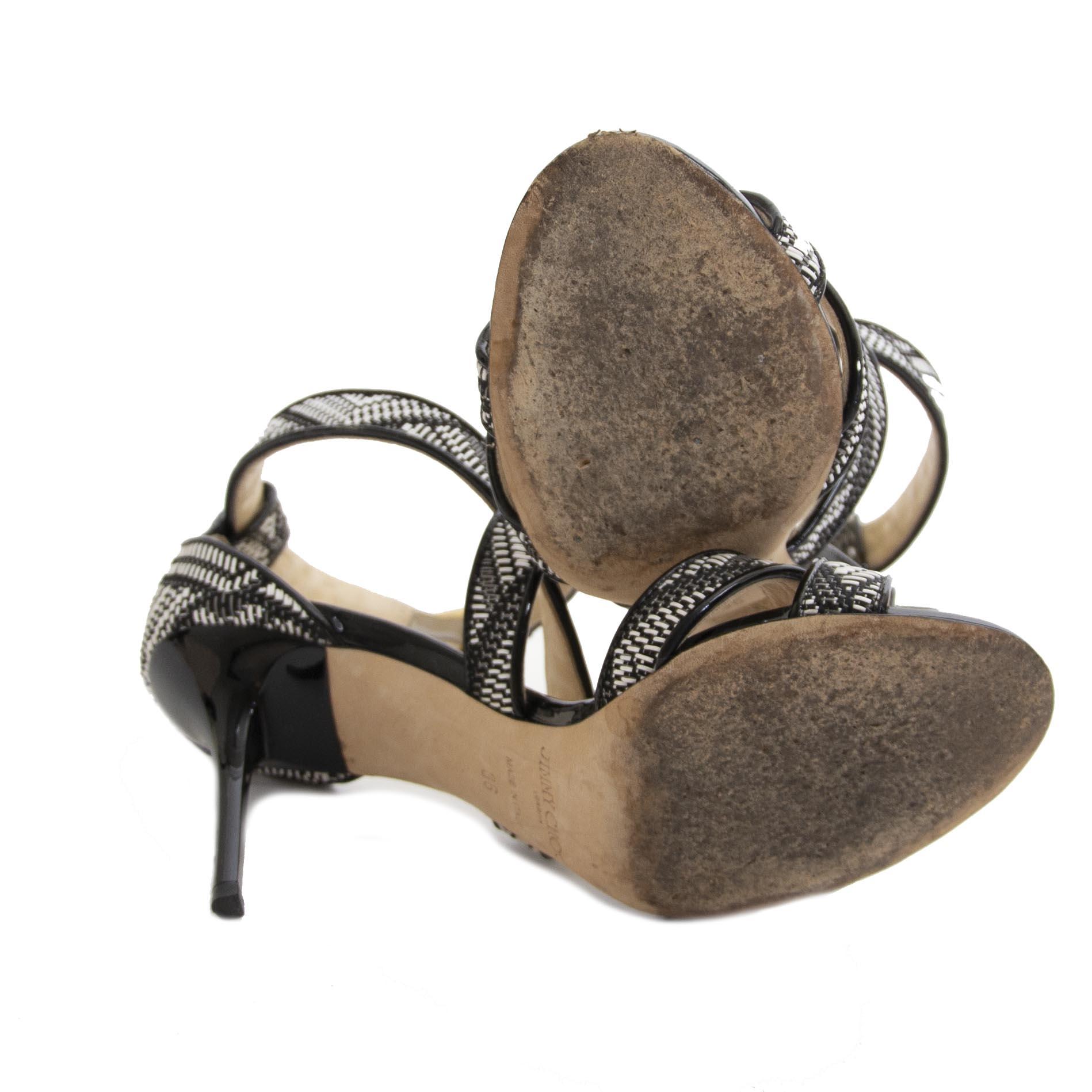 Jimmy Choo Braided Black & White Sandals te koop aan de beste prijs bij Labellov