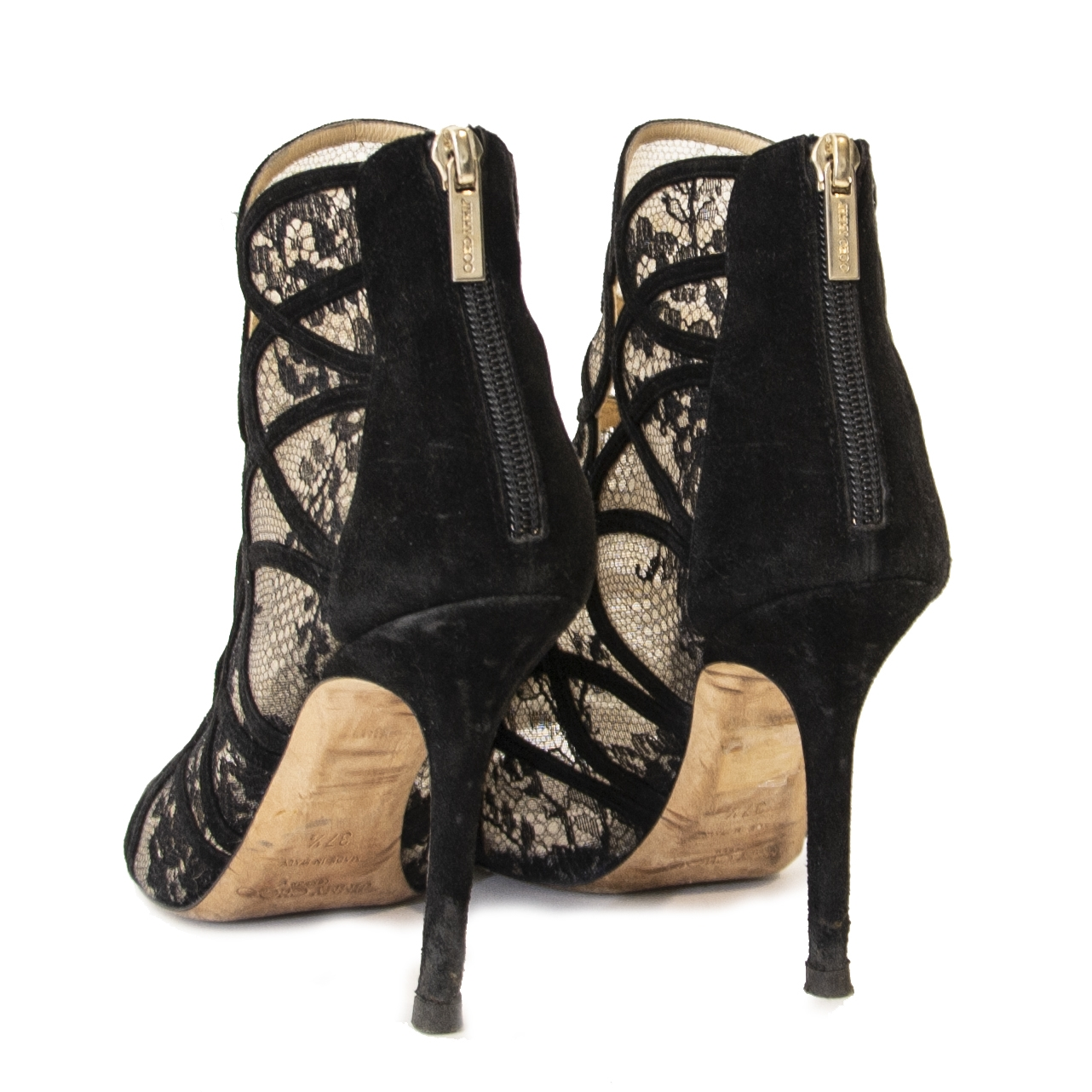 Jimmy Choo Black Lace Peeptoe Heels now online at labellov.com for the best price