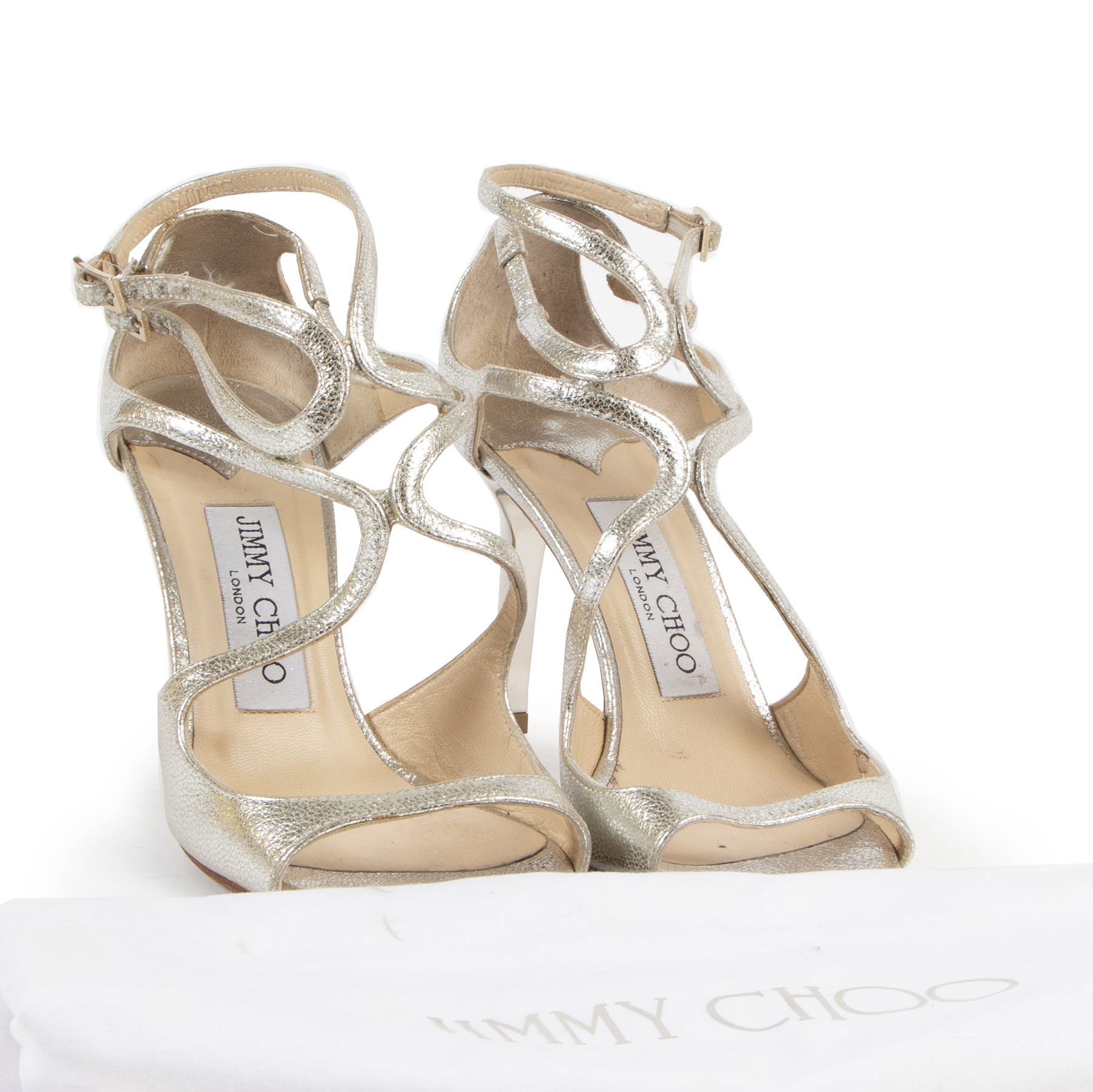 We buy and selll your authentic designer Jimmy Choo Ivette Gold Heels