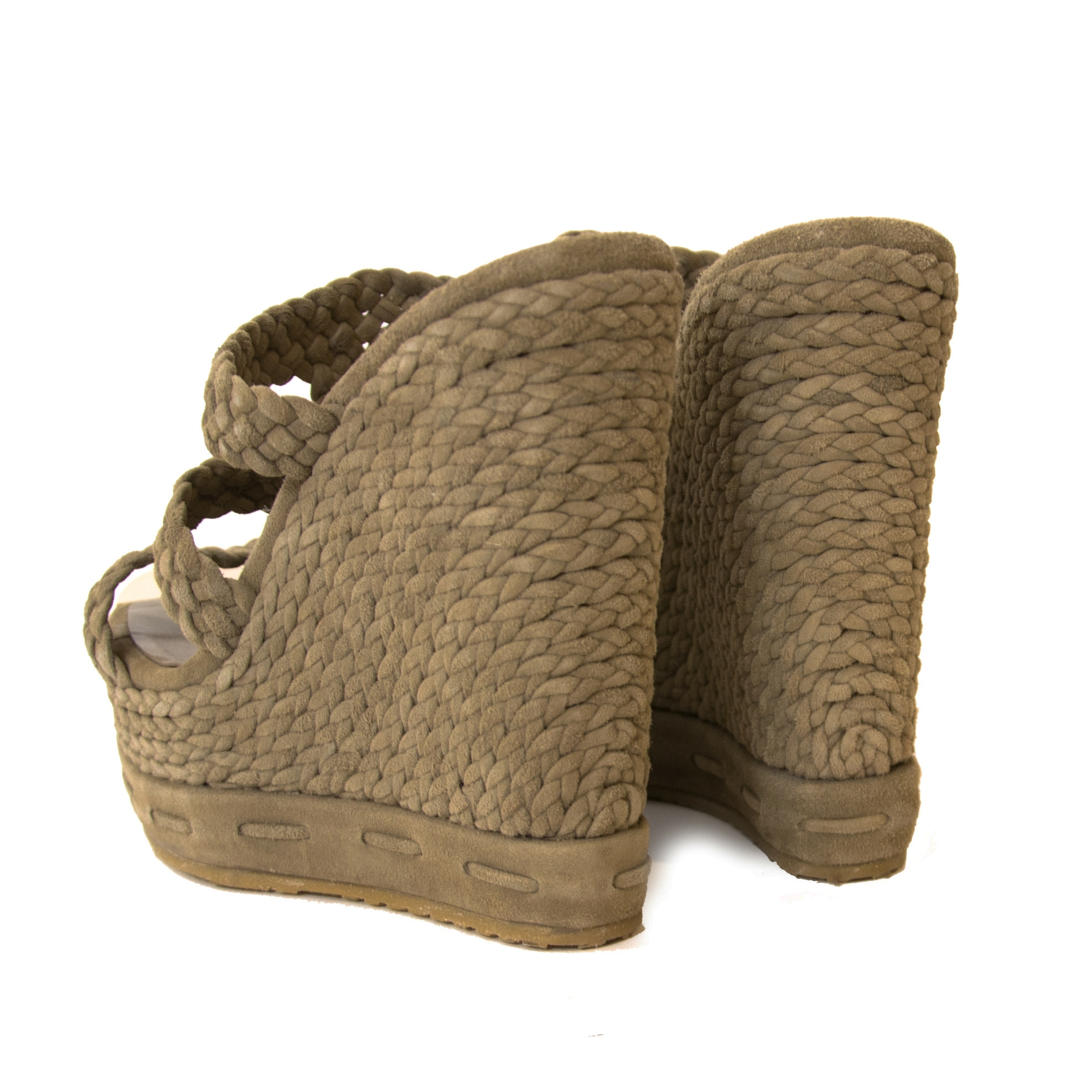 Jimmy Choo Olive Pace Woven Suede Wedges - Size 36 for the best price available at Labellov secondhand