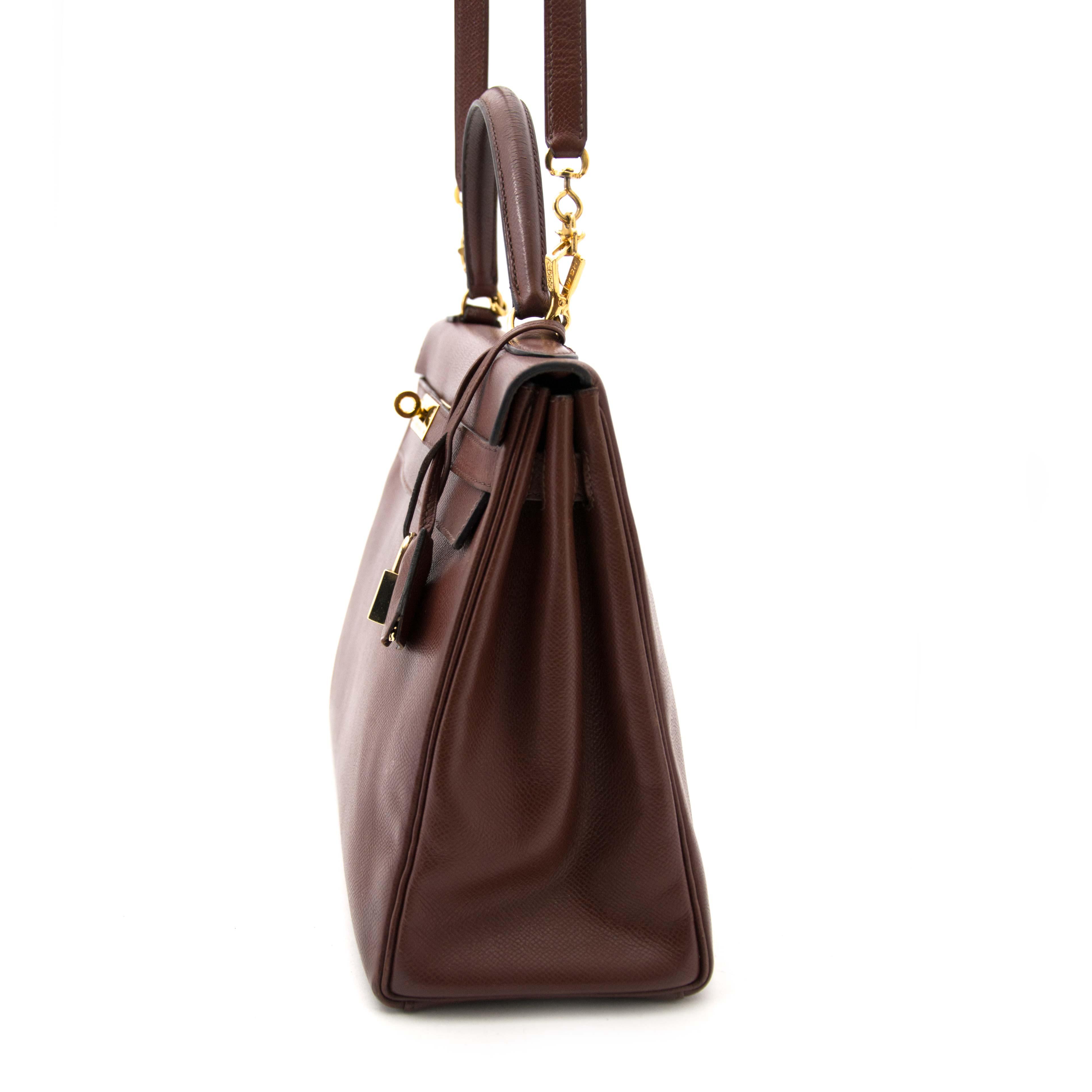 no more wiating vintage luxury acheter en ligne pour le meilleur prix Hermes Chocolat Kelly Veau Grain Lisse