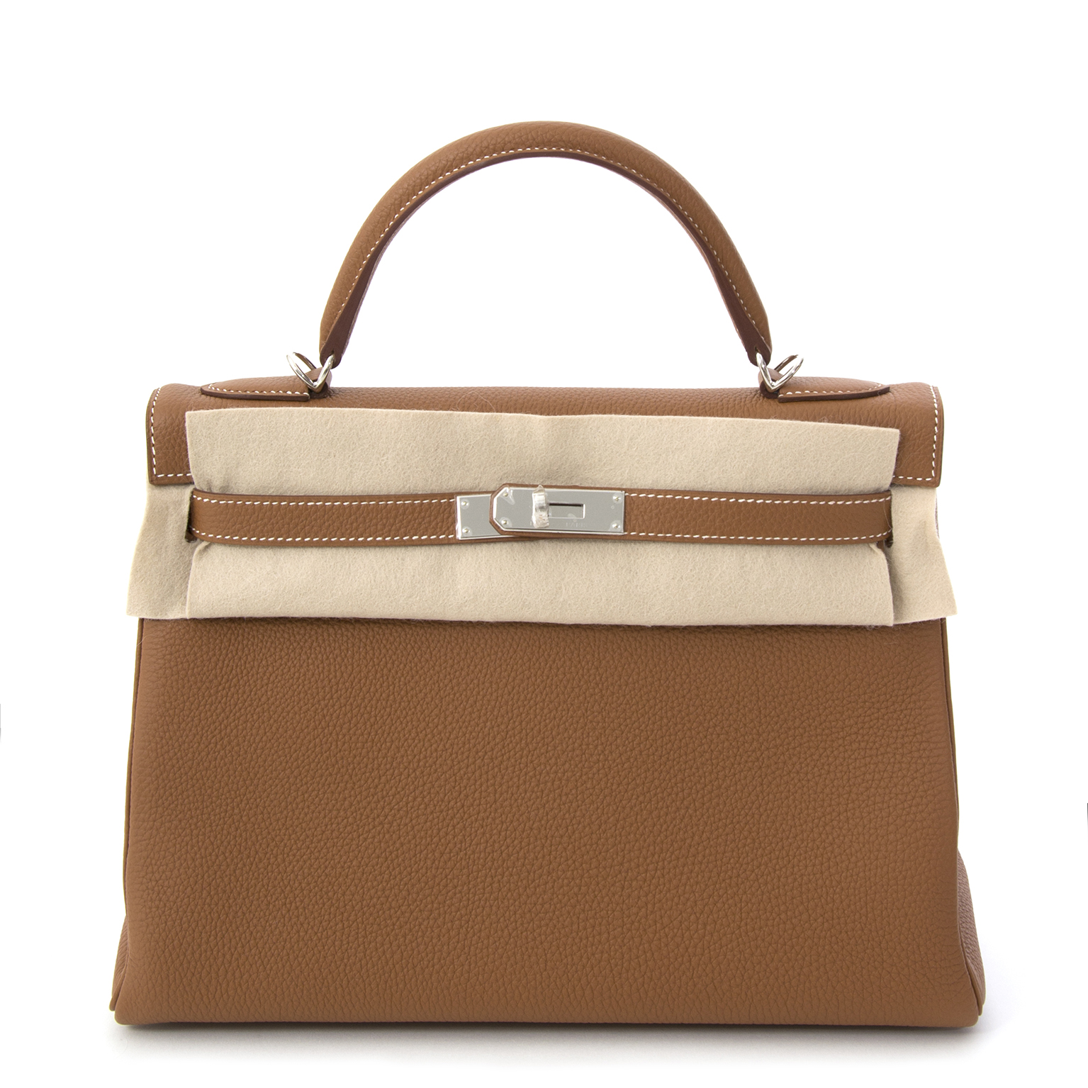 e0d2623931b9 ... sale on Labellov Nieuwe en authentieke Hermès Kelly Togo 32 in gold met  zilveren hardware · Hermes